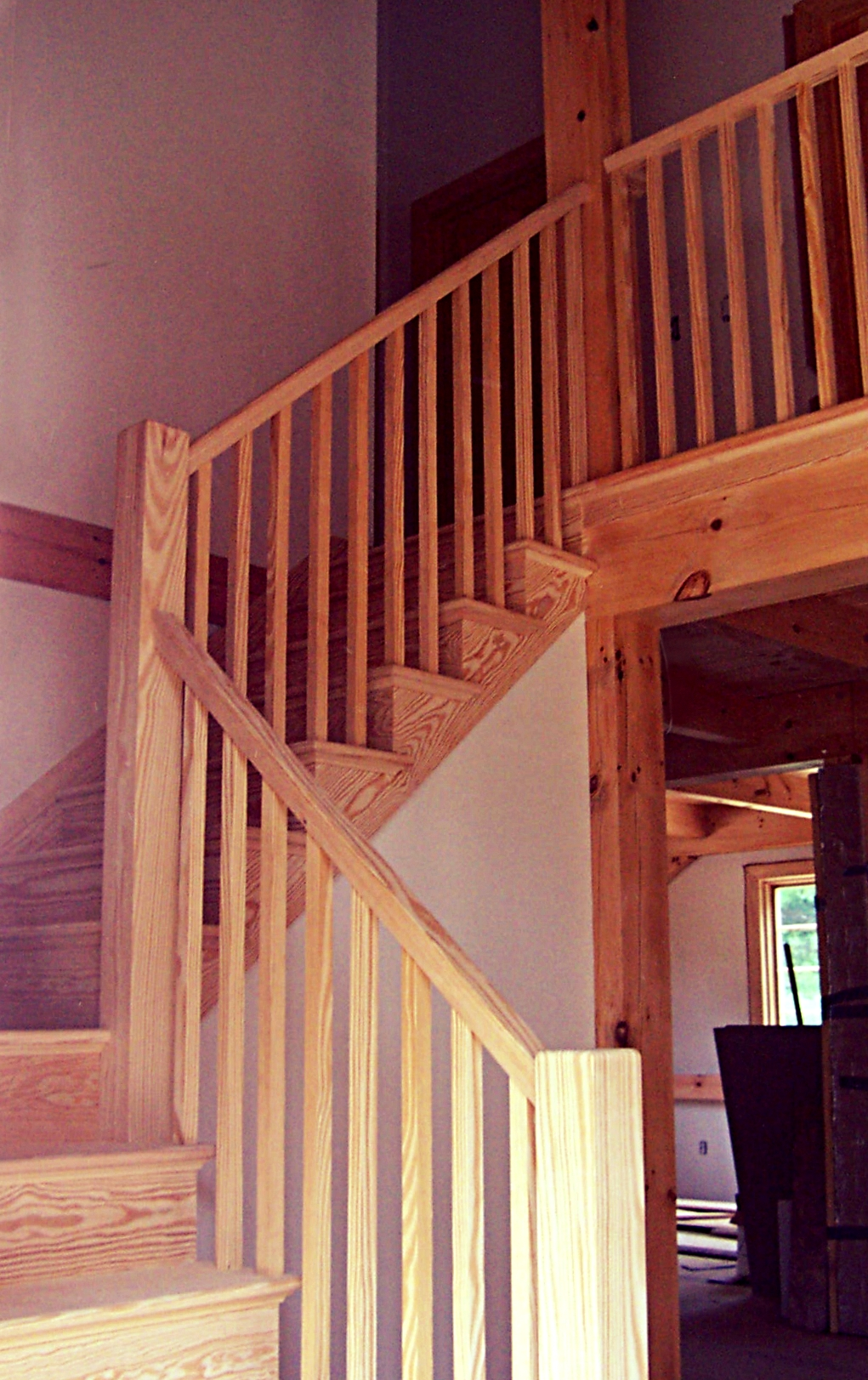 Yellow Pine stair .We use a good grade of Y.P.