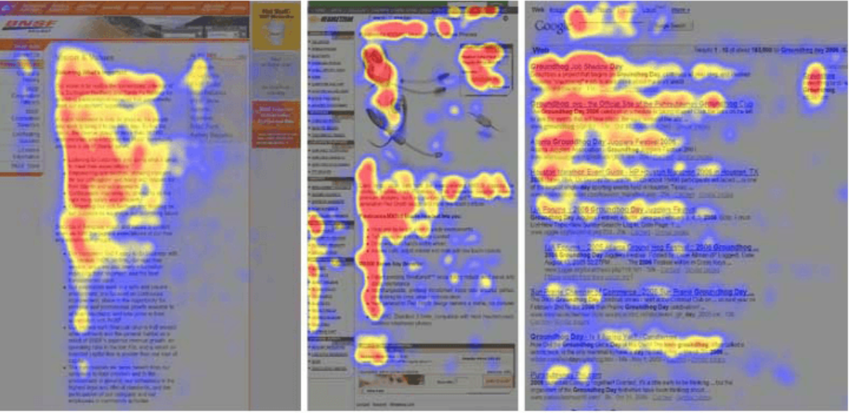 Heat map showing where eyes linger, courtesy of Instapage.com