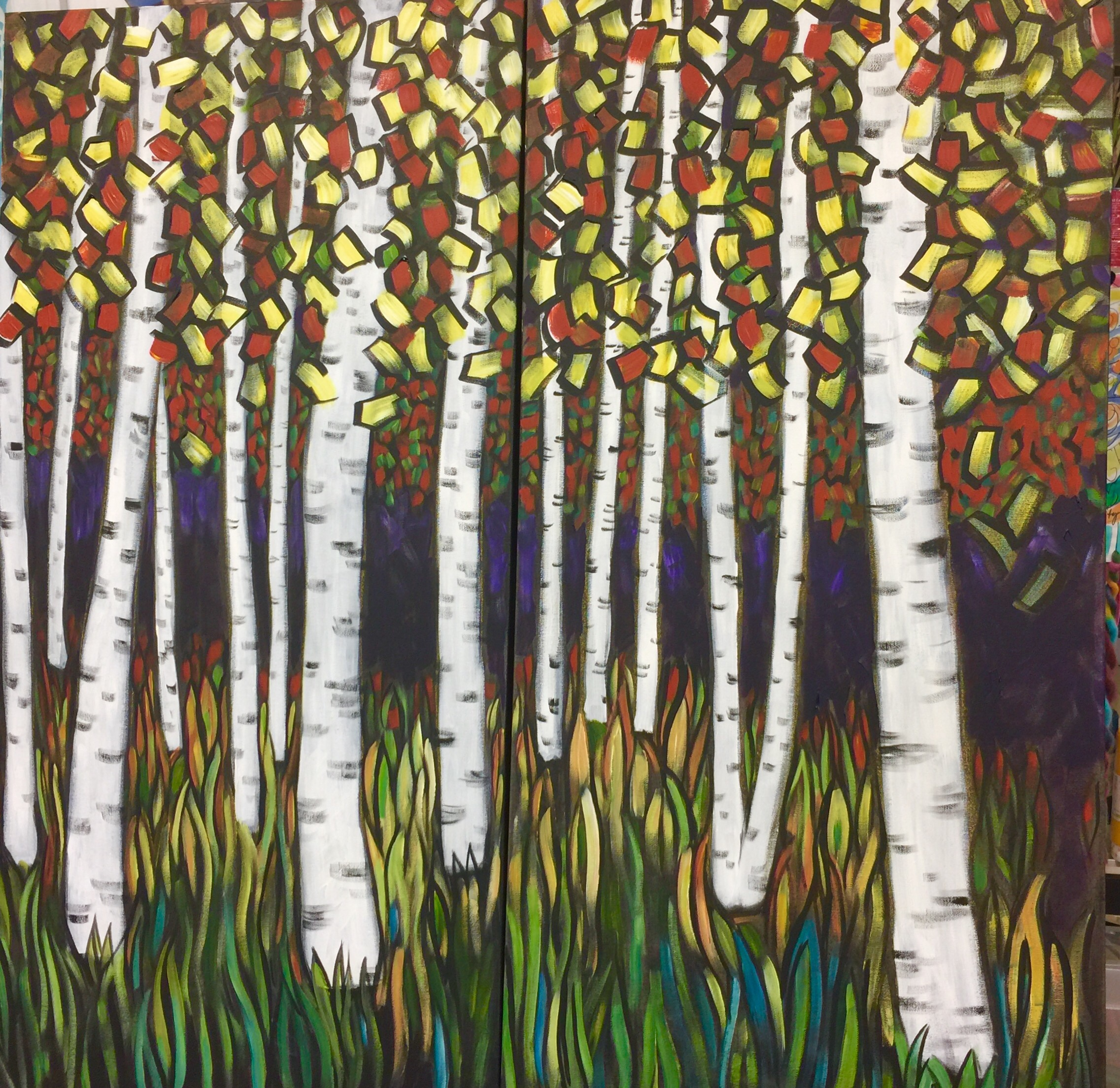 Acrylic / Canvas  2ft X 4 Ft   2 canvases created to be viewed side by side, can be displayed separately.  $650 each