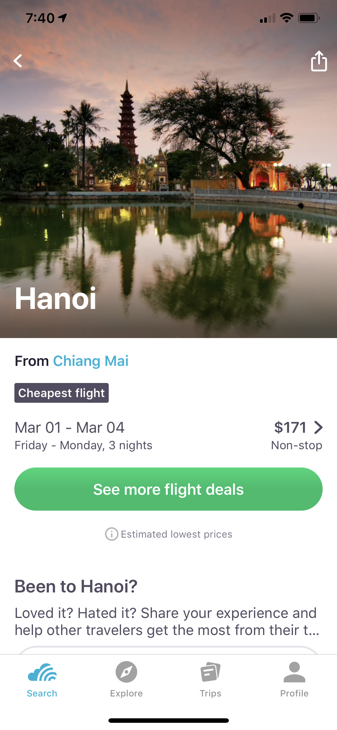 Now select your city and pull up your flight options. -