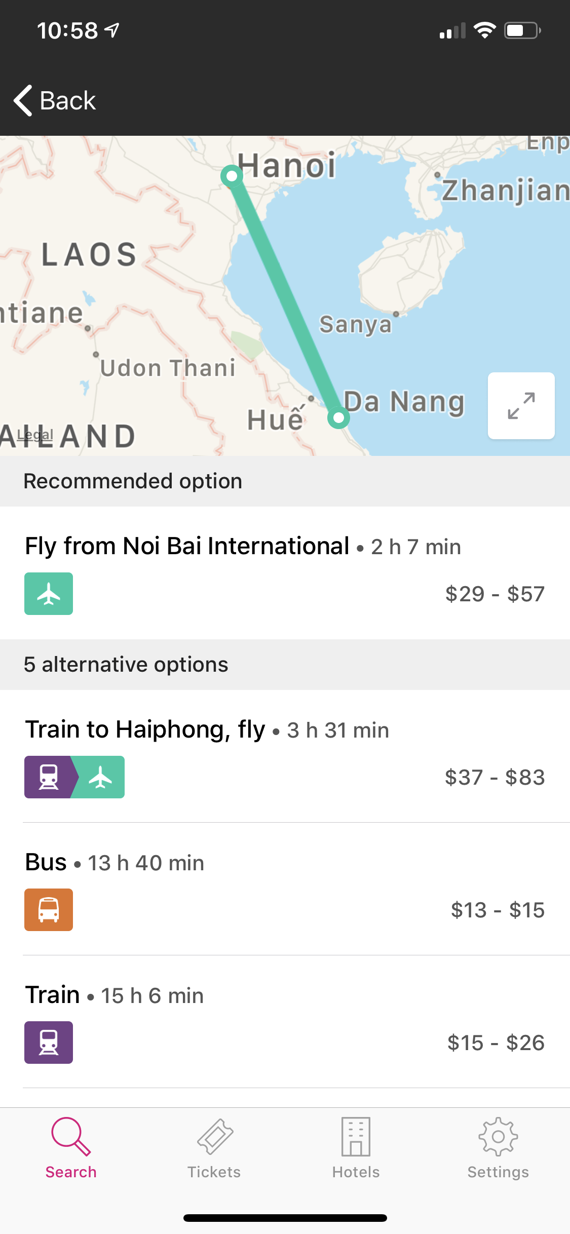 Here's an example of another search, this time from Hanoi to Da Nang.