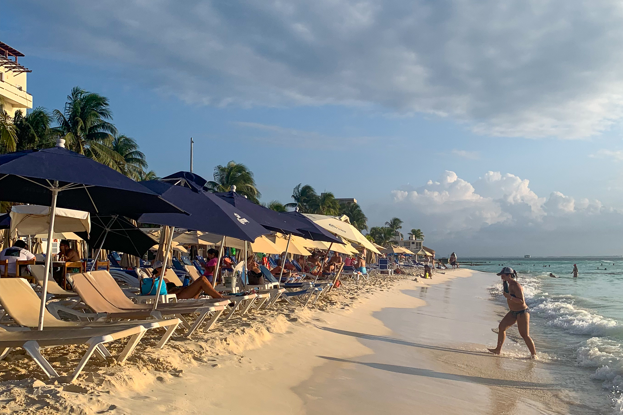 There are beach clubs everywhere, so you can easily find, food, drink, and water.