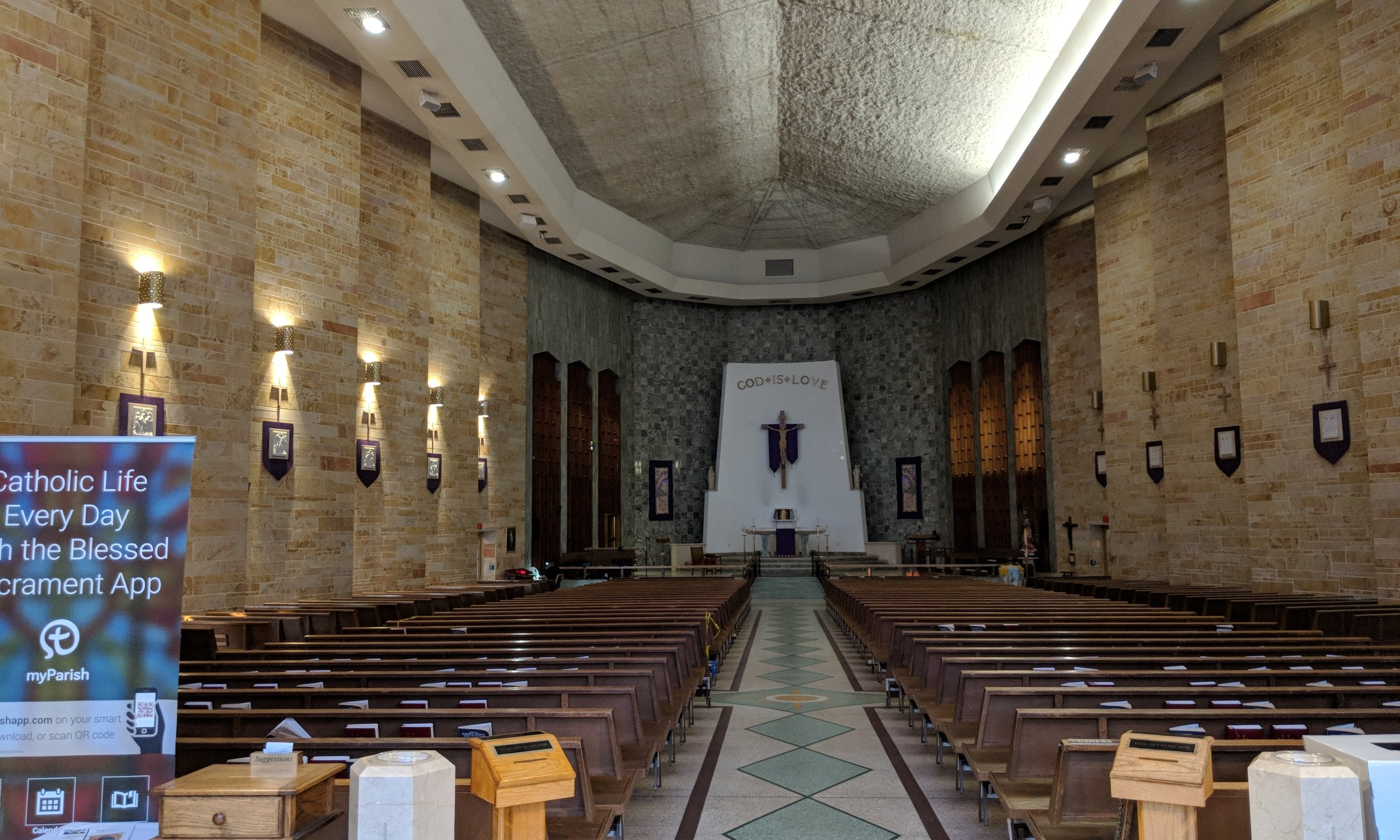Nave speakers are positioned to be invisible, while still providing proper coverage, when viewing the Sanctuary.