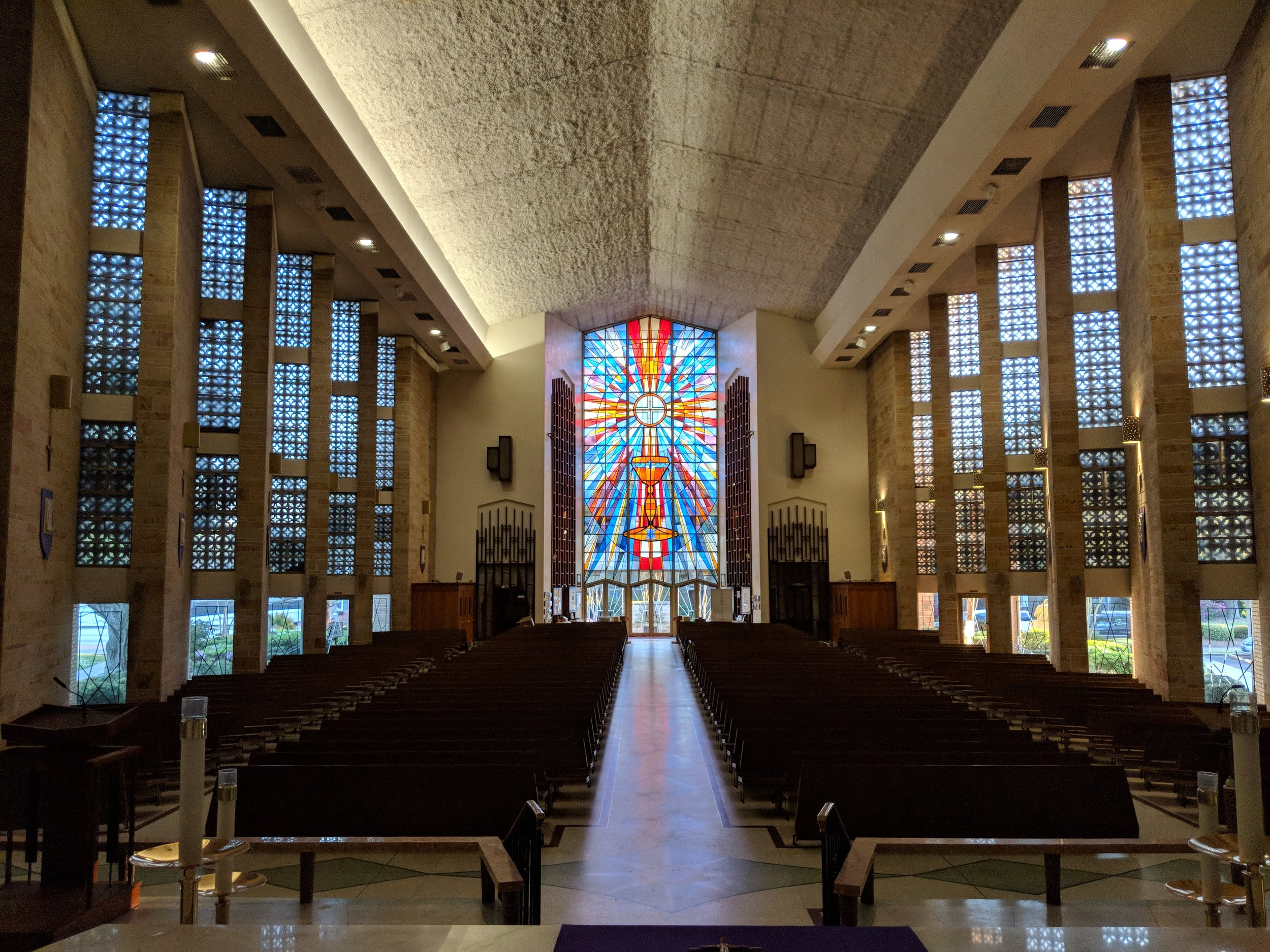 A view of the Nave from the Sanctuary. CAMM DT-200 speakers provide coverage in the Nave.
