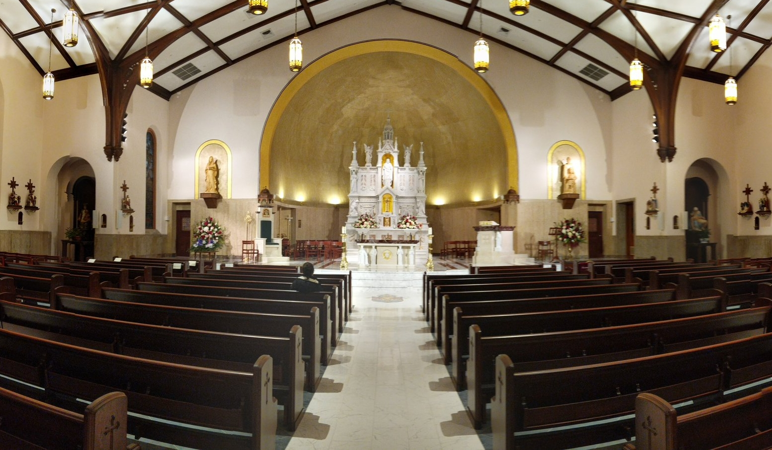 The newly-renovated Co-Cathedral is prepped for the re-dedication mass.