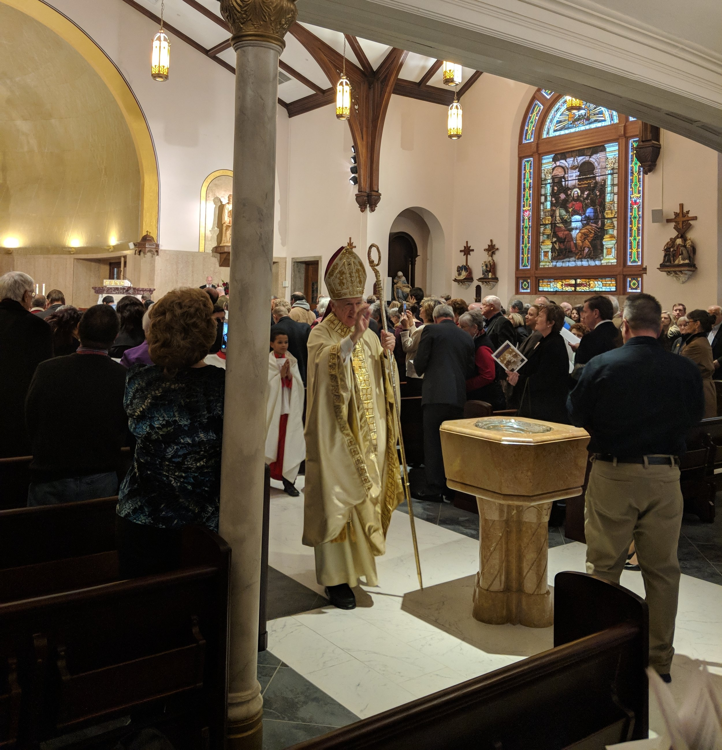 Bishop Bransfield (Diocese of Wheeling-Charleston) processes out during the concluding hymn of the dedication mass.