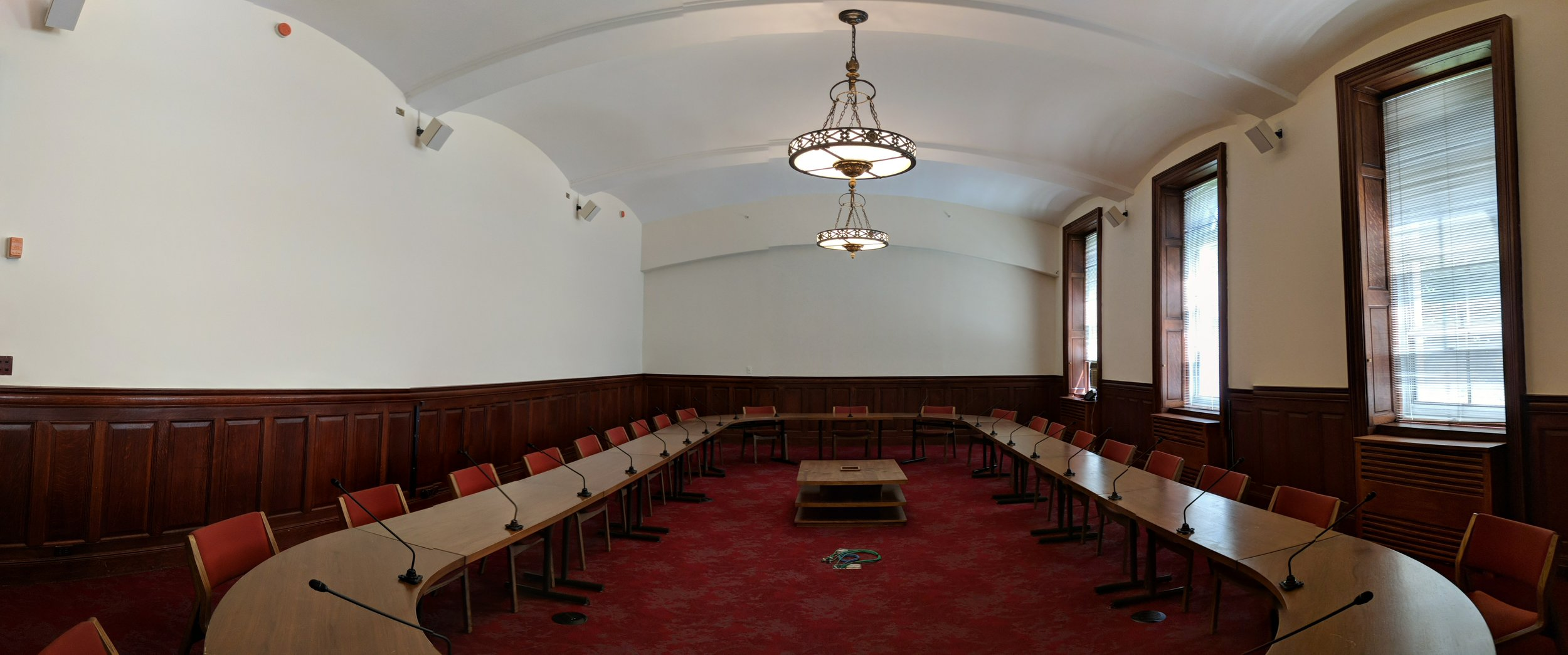 CAMM DT-200 speakers and Audio-Technica Engineered series microphones are used in the boardroom.