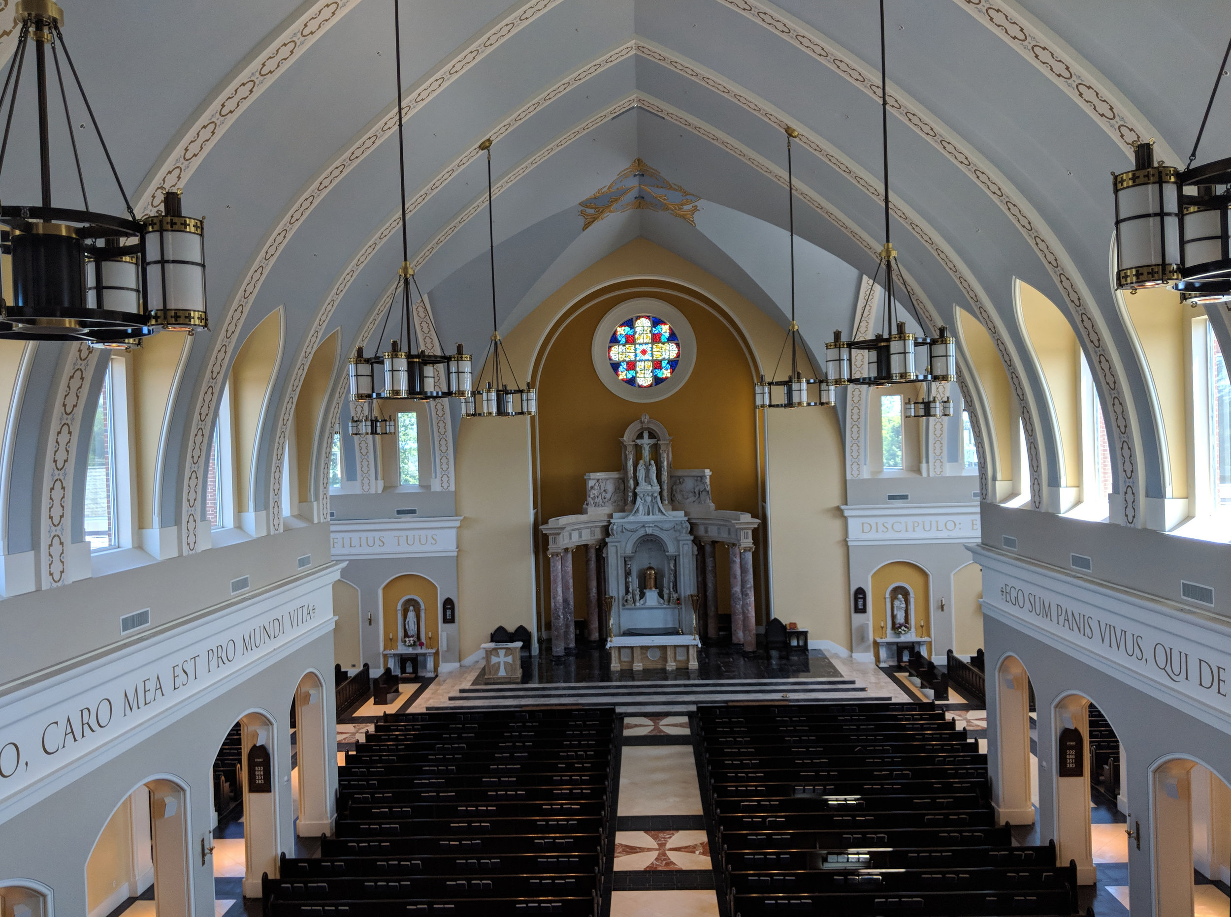 St. John the Apostle Church uses a mixture of CAMM speakers, Audio-Technica wired and wireless microphones, and Audix choir microphones for accurate and intelligible sound reproduction.