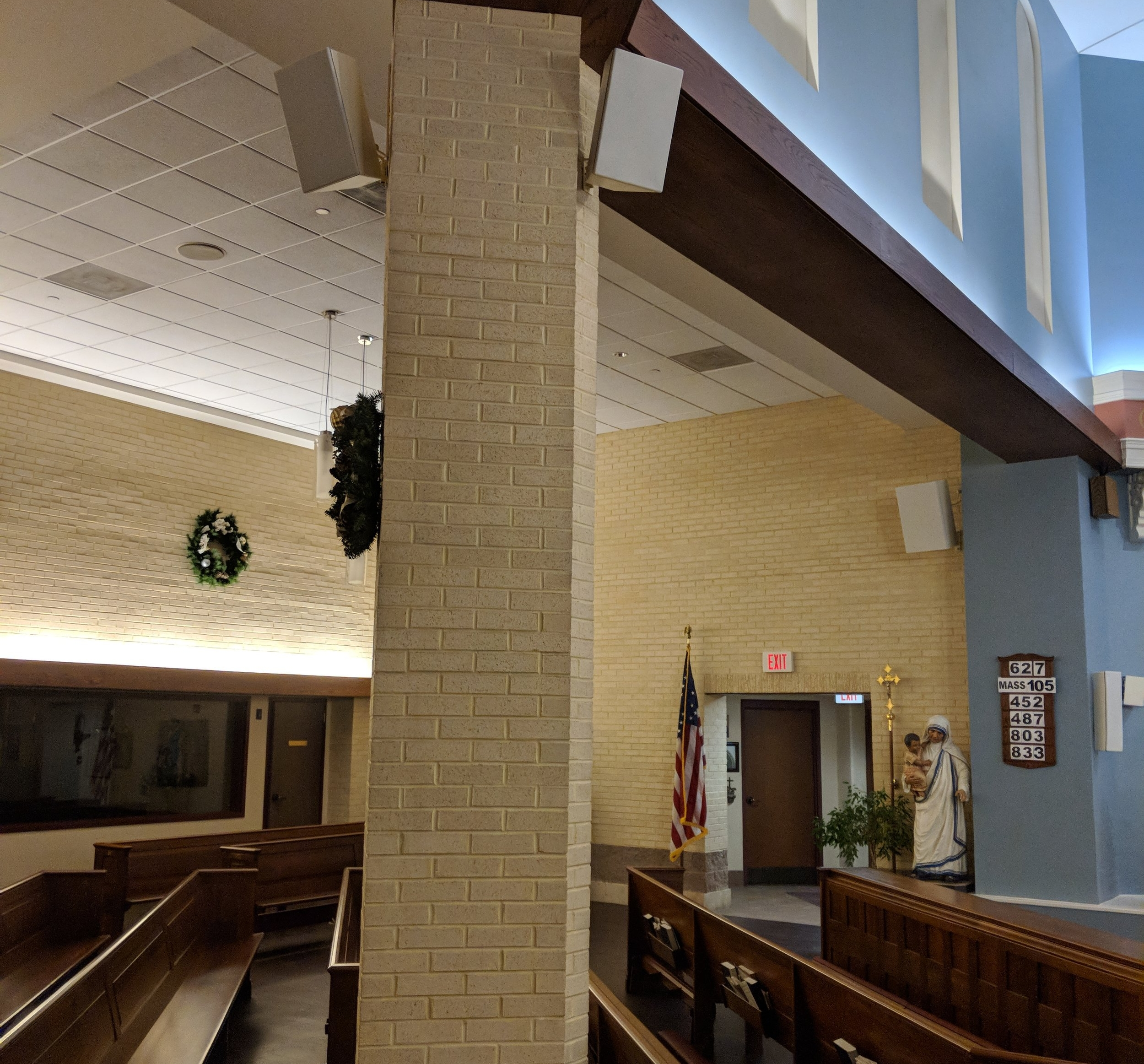 CAMM DT-400 speakers mounted on the column provide audio coverage in the center nave. CAMM DT-800 speakers mounted in the sides of the church provide audio coverage for individuals in the end pews and additional low frequency reinforcement.