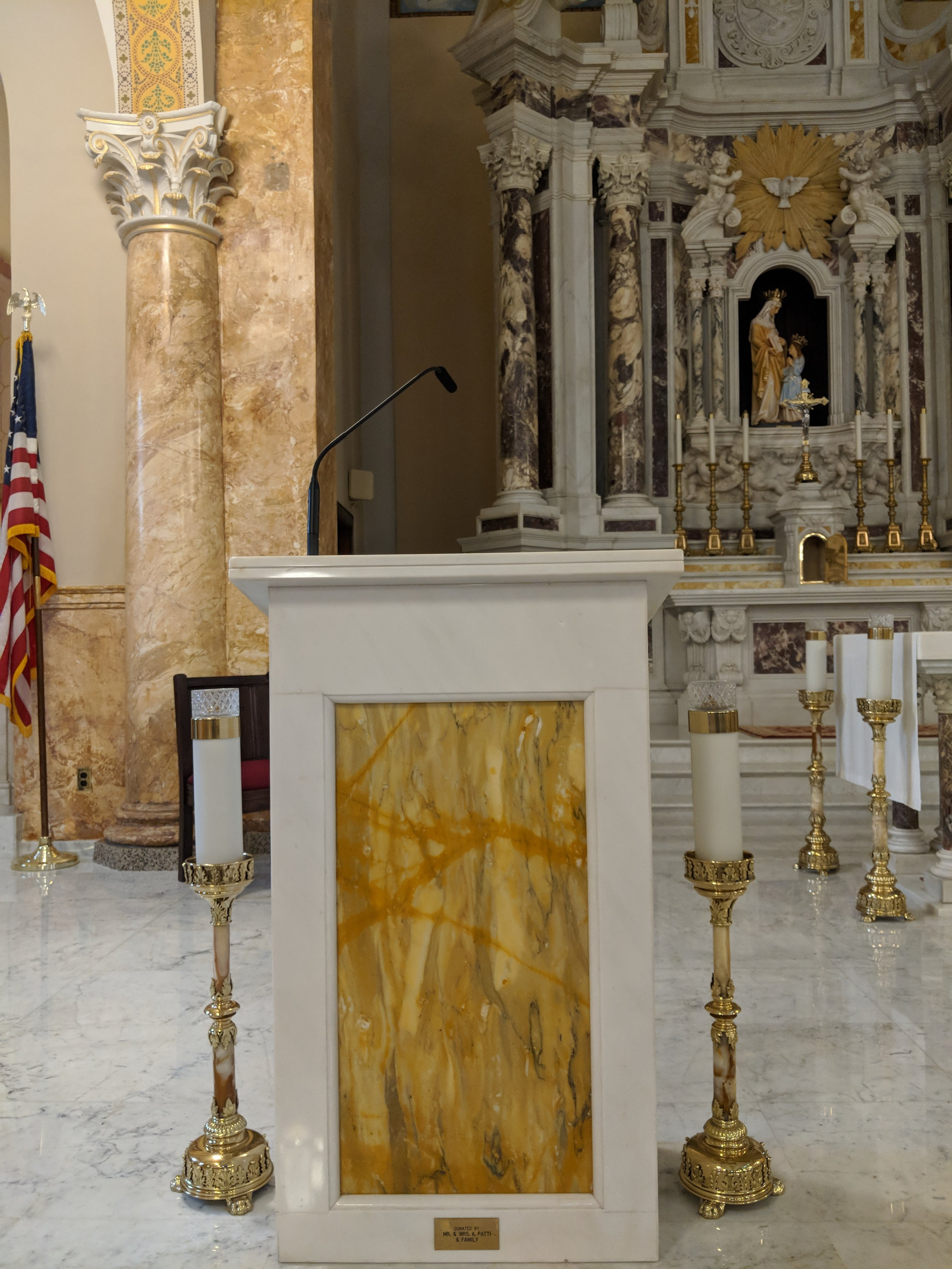 An Audio-Technica Engineered series microphone is used on the pulpit.