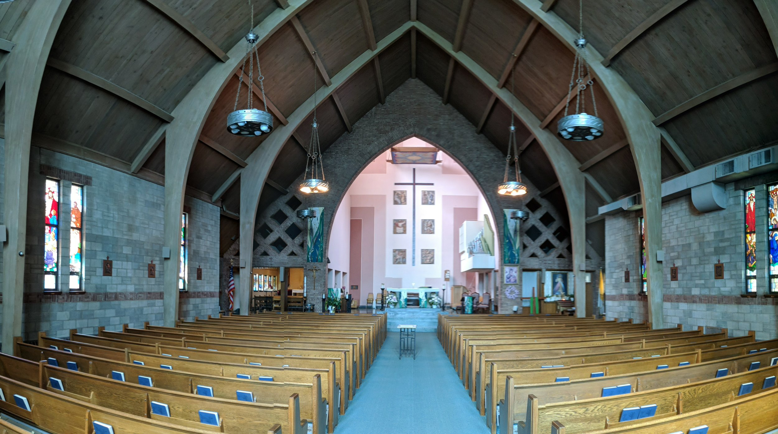 CAMM line array speakers provide coverage in the front Nave, while CAMM DT-200 speakers provide coverage in the middle and rear Nave. Two CAMM subwoofers are mounted on the front side of the Sanctuary (hidden) for low frequency reproduction and reinforcement.