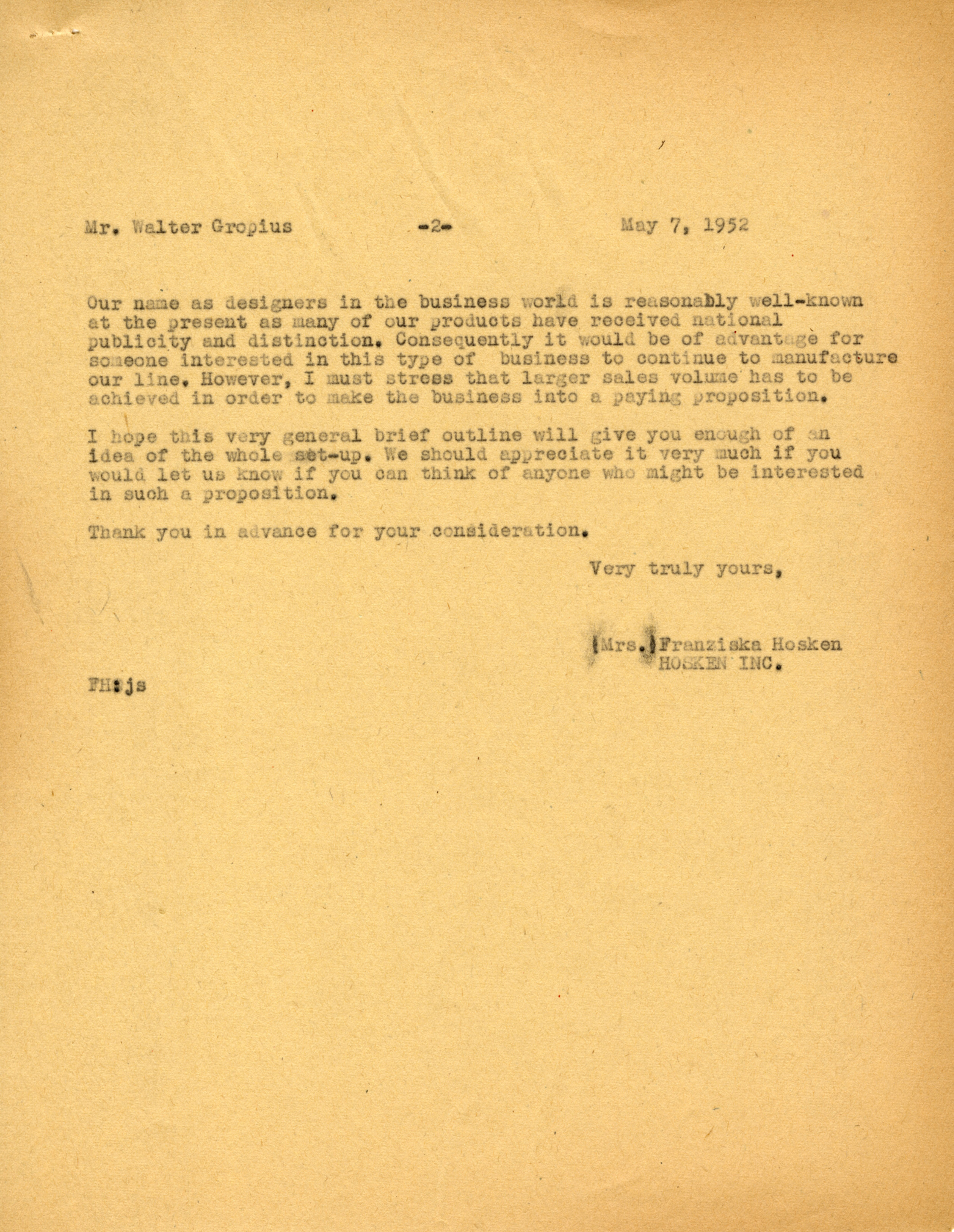 Correspondence between Fran Hosken and Walter Gropius, May 7, 1952. Frances Loeb Library Special Collections, Harvard Graduate School of Design.