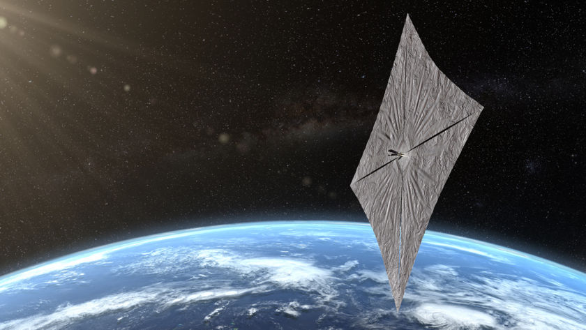LIGHTSAIL 2  Artist's concept of LightSail 2 above Earth.  Image courtesy of Josh Spradling / The Planetary Society