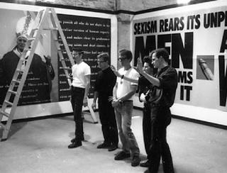 Gran Fury with The Pope and The Penis at the 1990 Venice Bienale, image:artforum.com L to R: John Lindell, Donald Moffett, Mark Simpson, Marlene McCarty, and Loring McAlpin