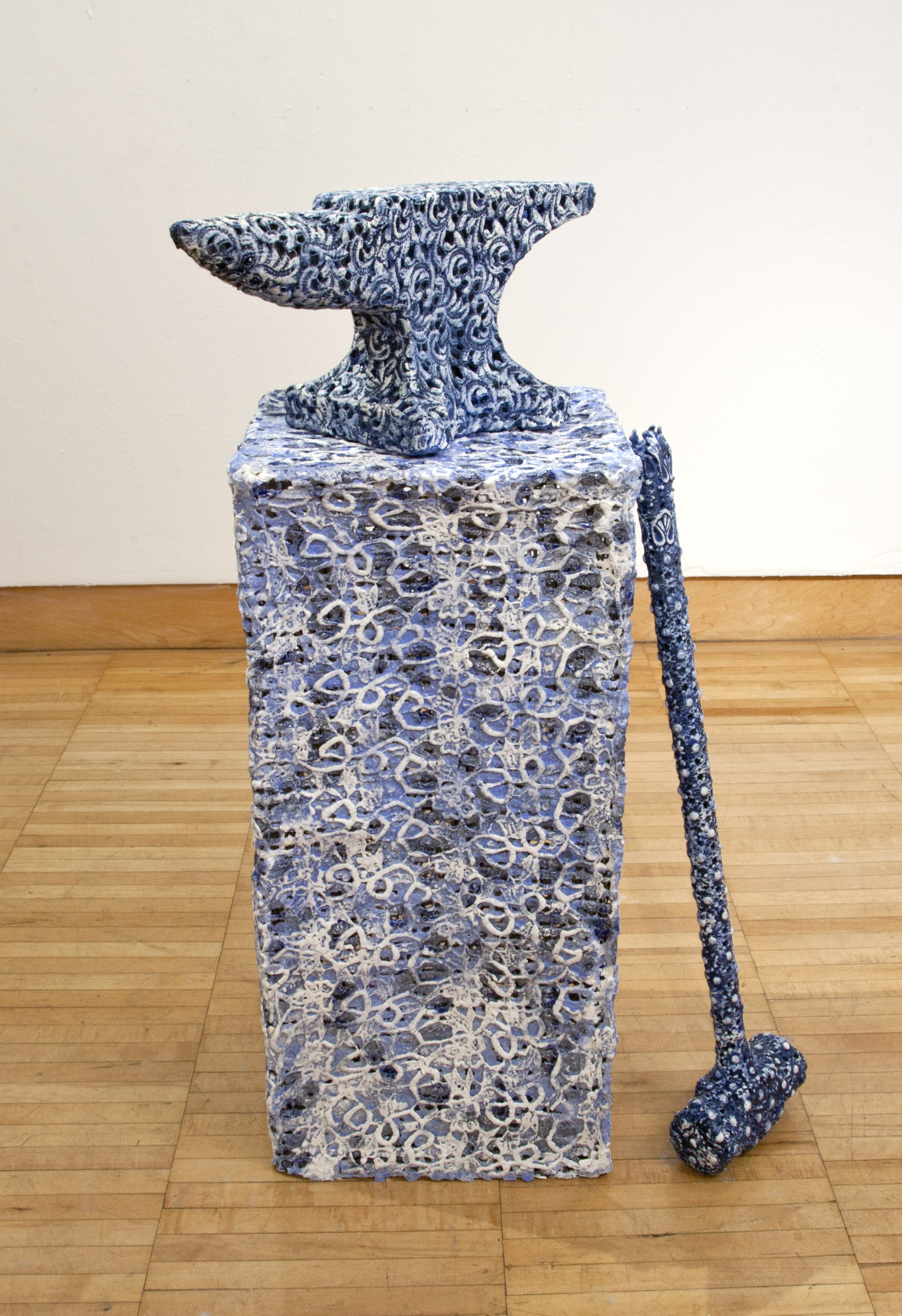 "Hammer and Anvil, 2013 Porcelain, glaze and underglaze. 18"" x 13"" x 32"""