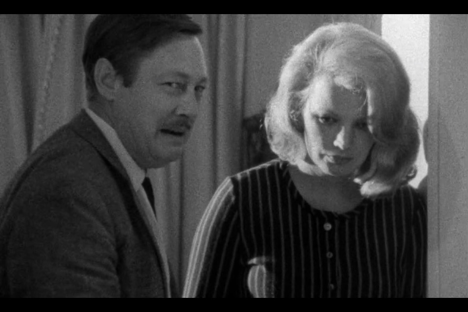 Still from FACES, a film by John Casavettes (Fred Draper and Gena Rowlands)