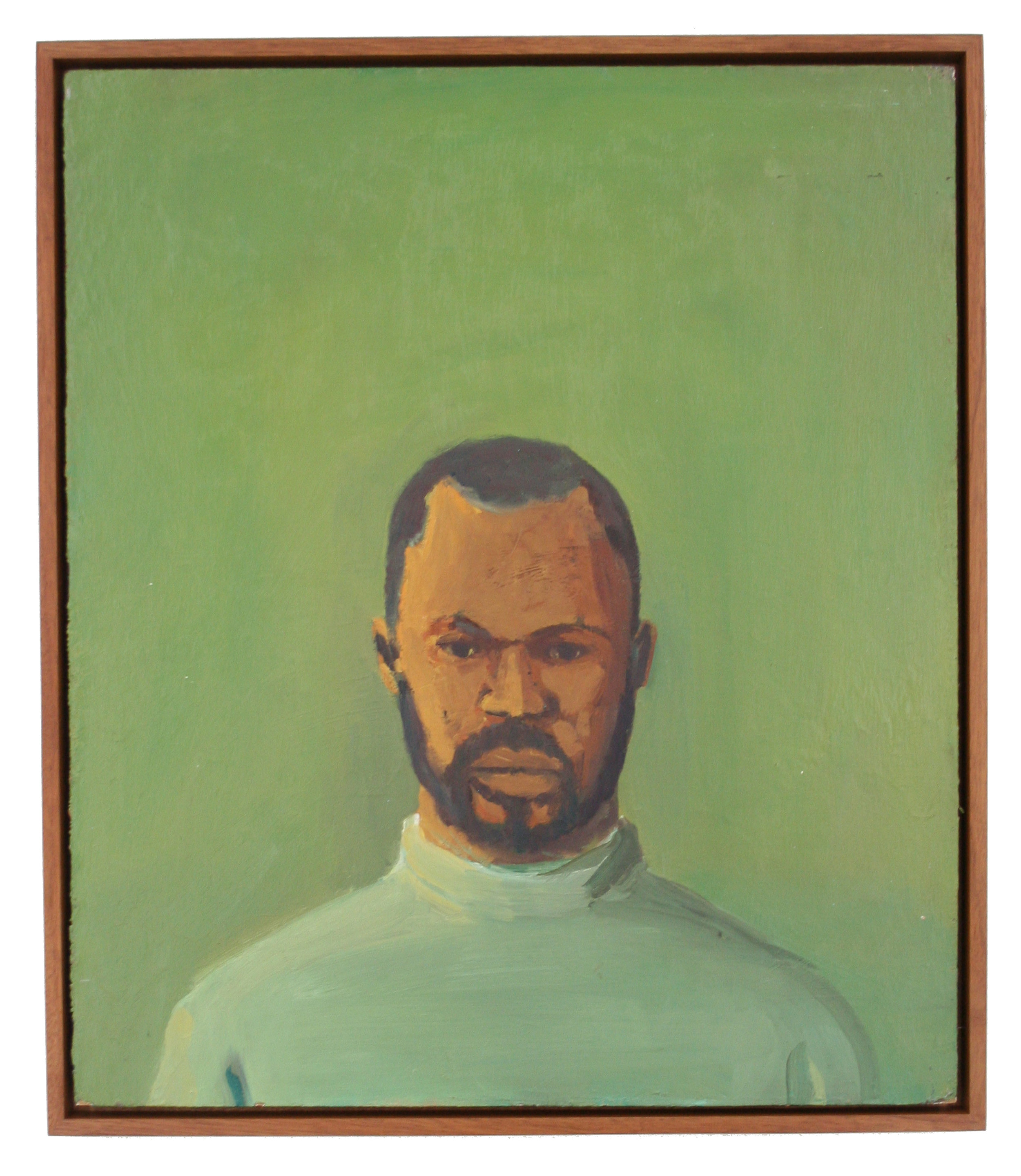Self Portrait at Skowhegan 2002 20 x 24 oil on panel with floating frame