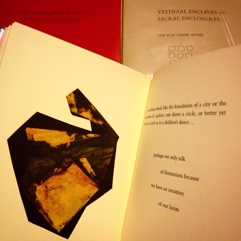 Photo of Leon Johnson's limited edition book, Vestigial Enclaves and Sacral Enclosures, which include a new commissioned poem by Bill Harris, almanac notes by Norman Douglas, photography by Leander Johnson, a commissioned composition by Joel Peterson (also performed live), six maps by Paul Bartow, and six new works by the Johnson.  Designed, typeset and printed by Megan O'Connell.  Handbound by Johnson.