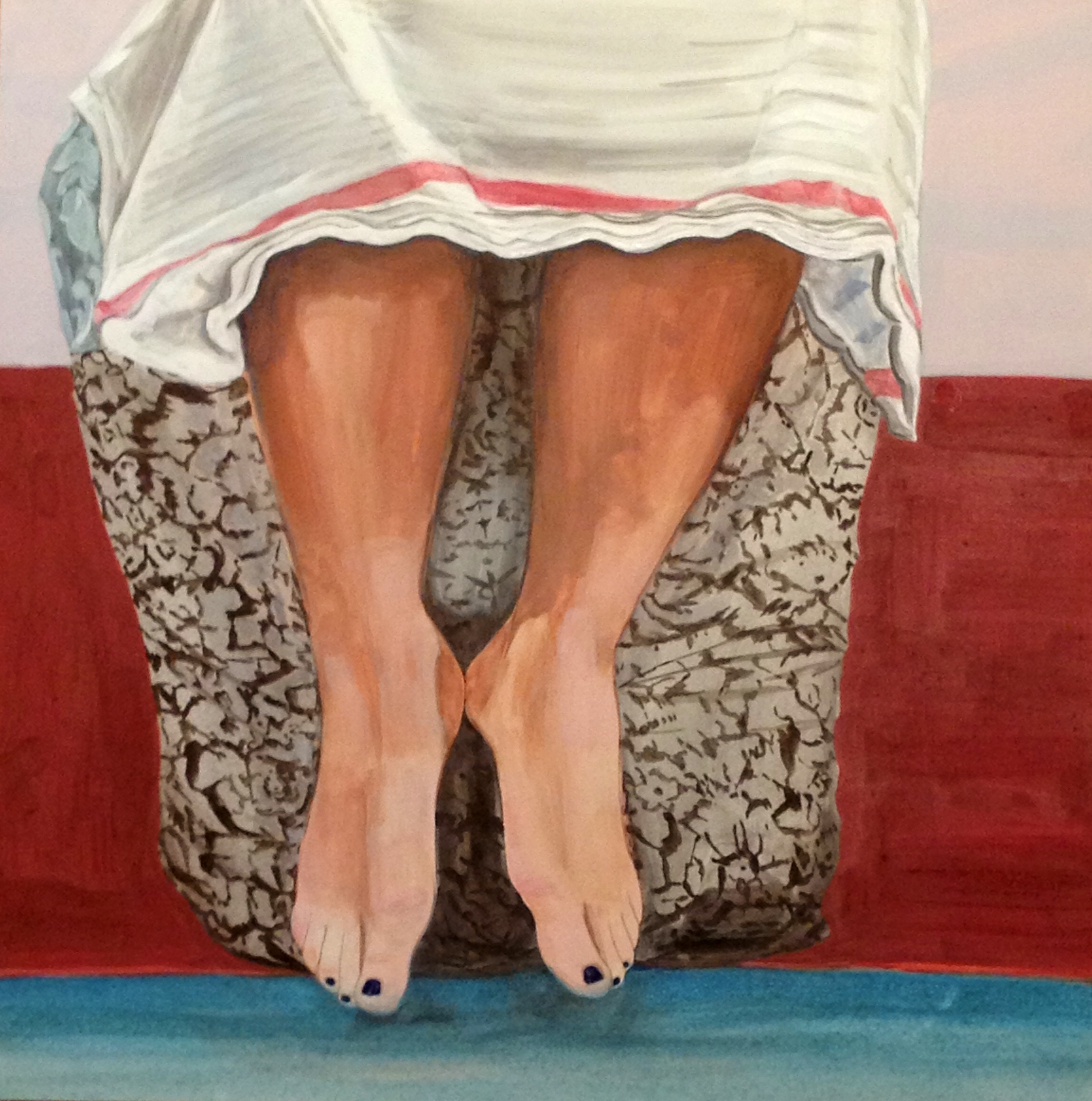 i wash my feet for you, gouache and gum arabic on panel, 15x15""