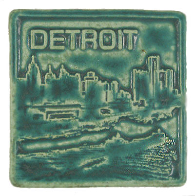 """Detroit Skyline Tile,"" Pewabic Pottery, 4""x4"", created in the 1980s by staff artist David Ellison."
