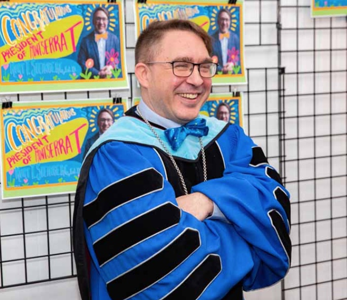 Kurt Steinberg, Ed. D., Eighth President of Montserrat College of Art on the day of his investiture, 29 March 2019