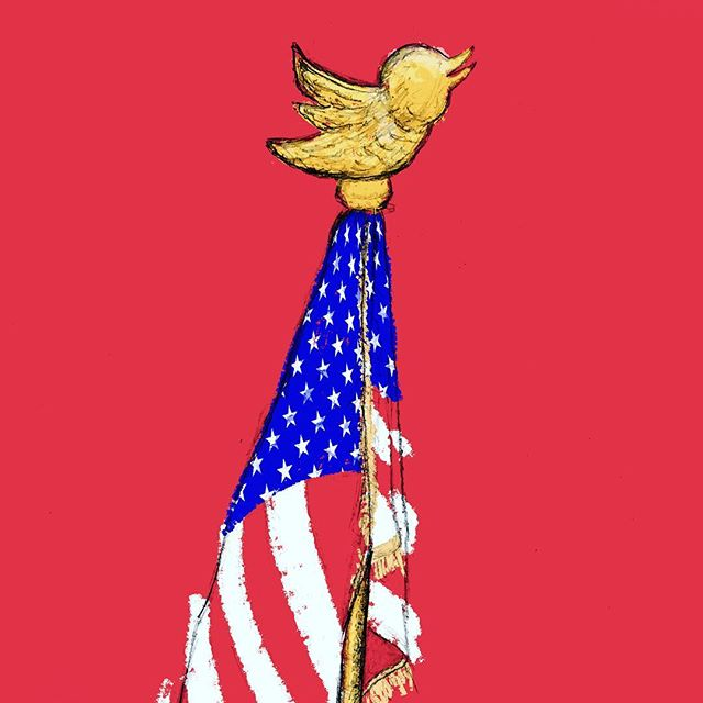 Talk about tone at the top.  Sketch by @refried_photography  #twitter #flag #goodbyeeagle