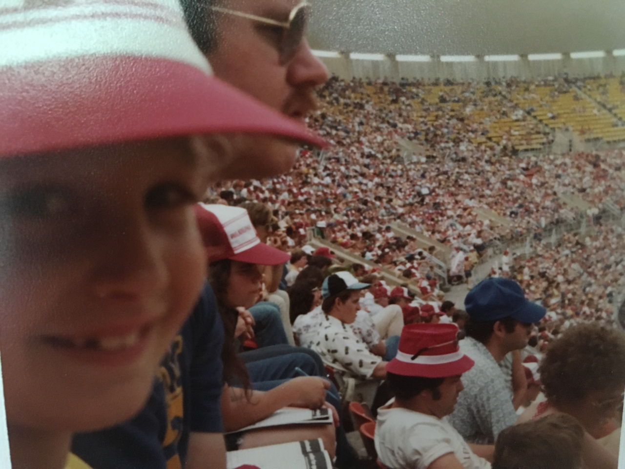 Me and my father at a Phillies game, circa 1976.