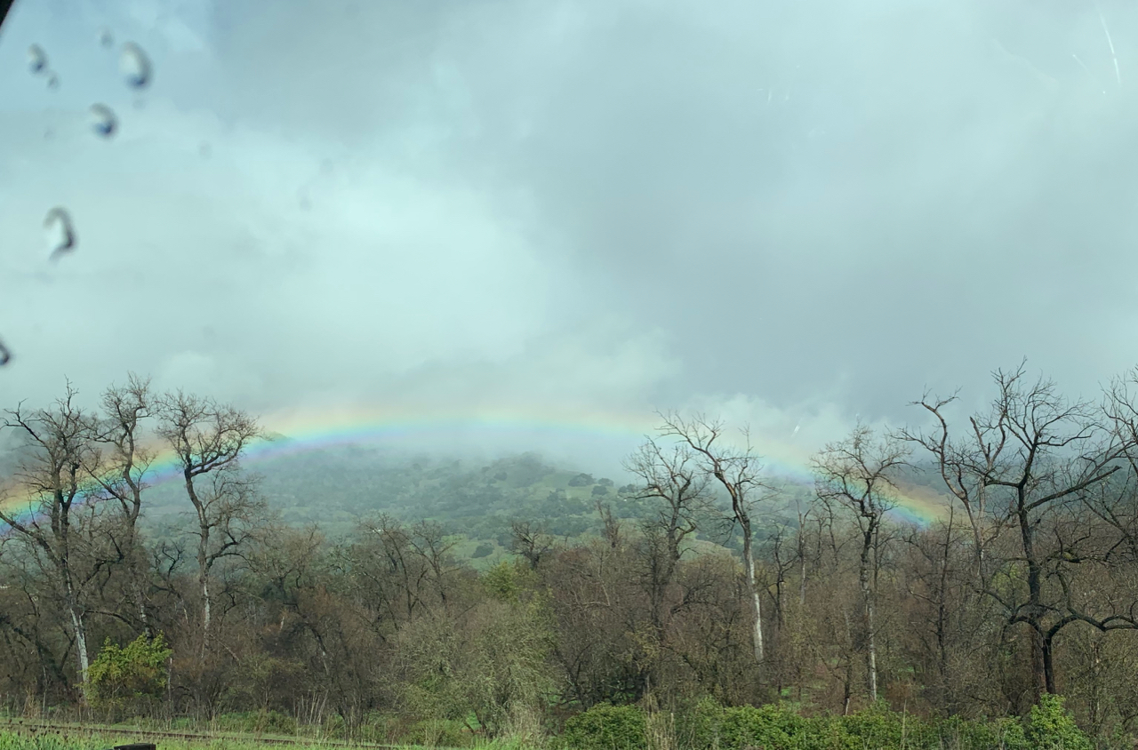 Rainbow on the way to Mendocino. Photo by me.