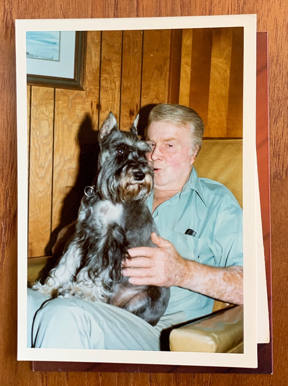 My grandfather with Greta, 1977.