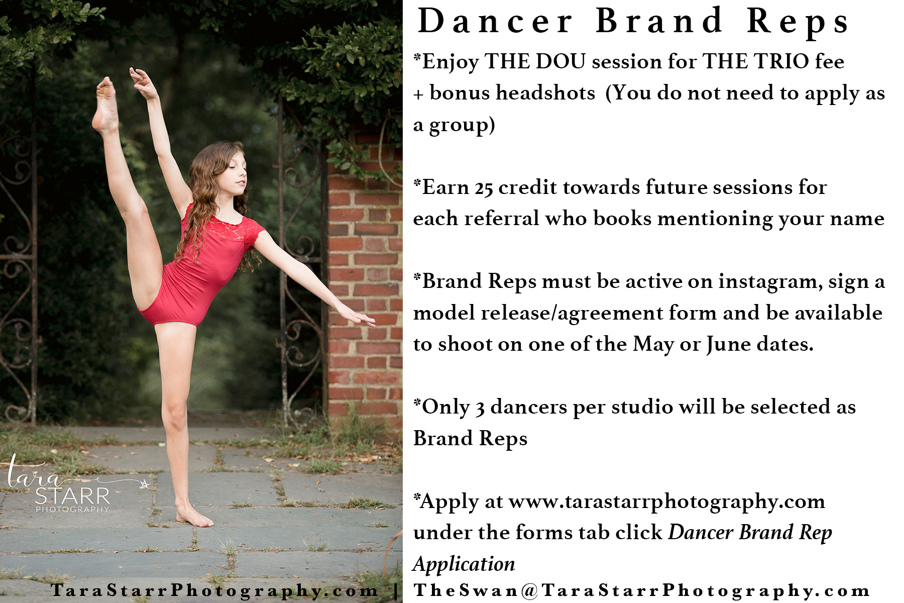 Perks of a Dancer Brand Rep - Session Incentive: A 400 session for 250 + credits towards future sessions for referrals.Once accepted, session fee due at time of booking