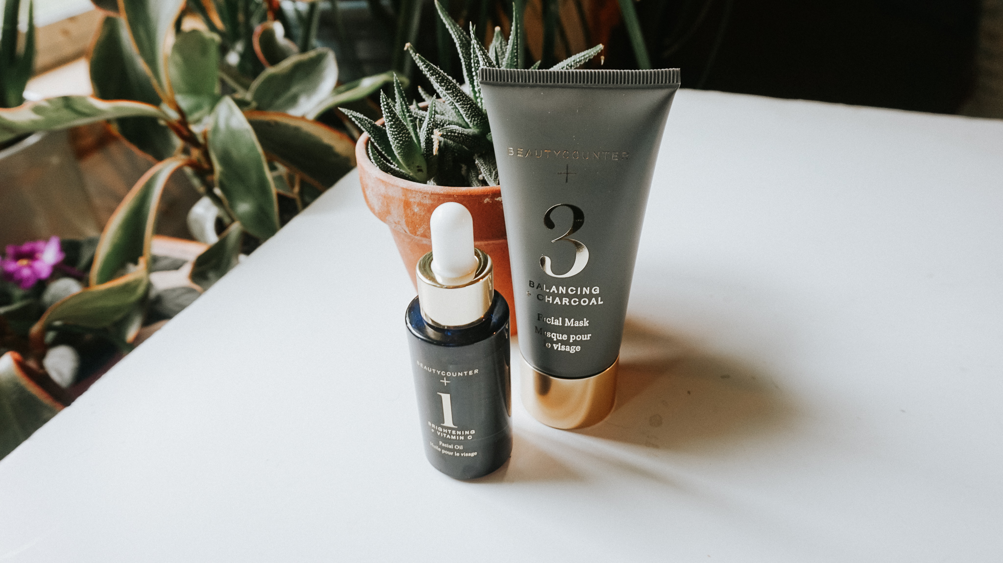 Pictured is the Beautycouter  No.1 Brightening Facial Oil  and the  Charcoal Mask . This combo leaves my skin looking so freakin glowy I'm in love.