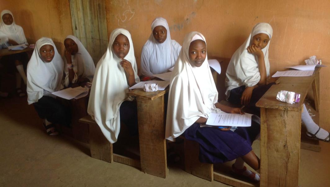 School girls in Maiduguri, Nigeria, with the iDOUBT Critical Thinking workbook