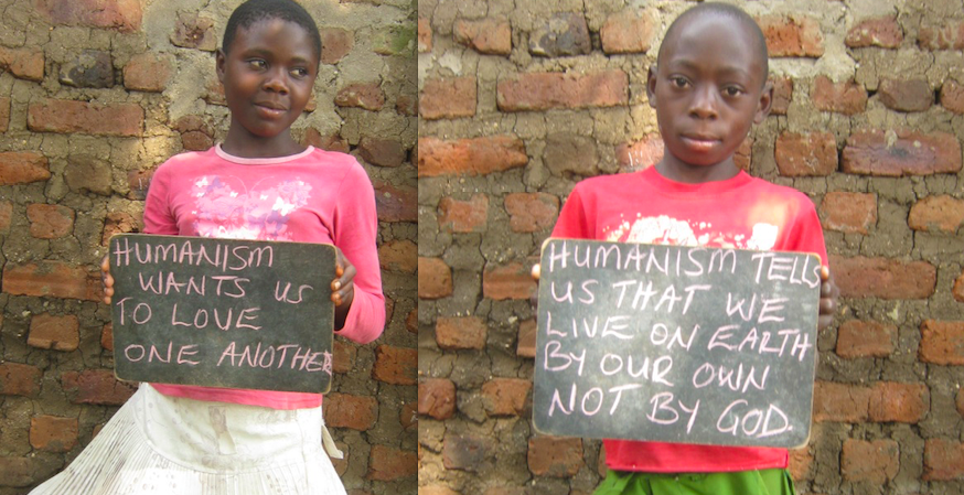 We promote secular humanism : these children go to Nyakiyumbu Widows Orphanage Humanist School in Uganda