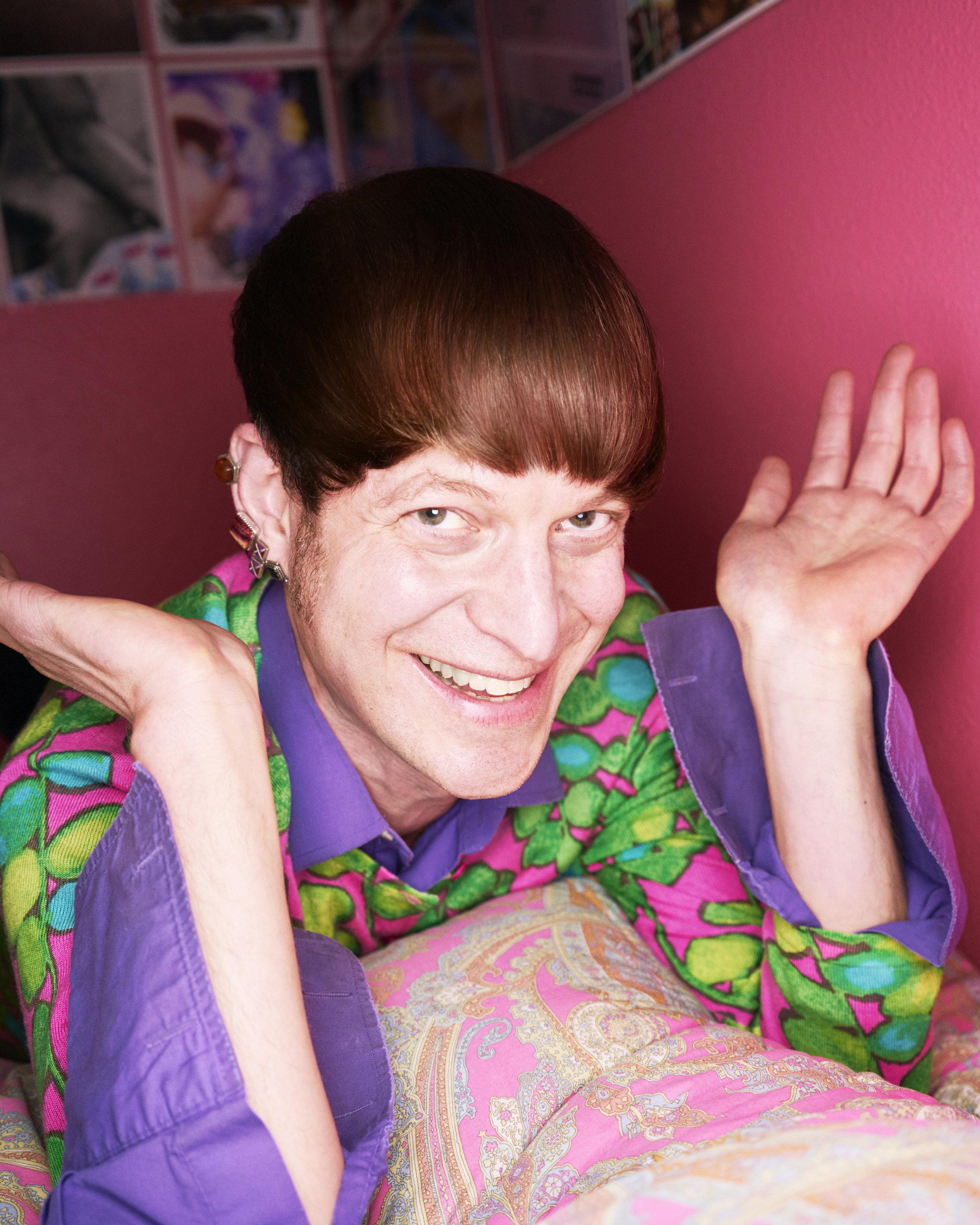 Photo of Mattilda Bernstein Sycamore by Jesse Mann, smiling in bed, 3-28-18.jpg