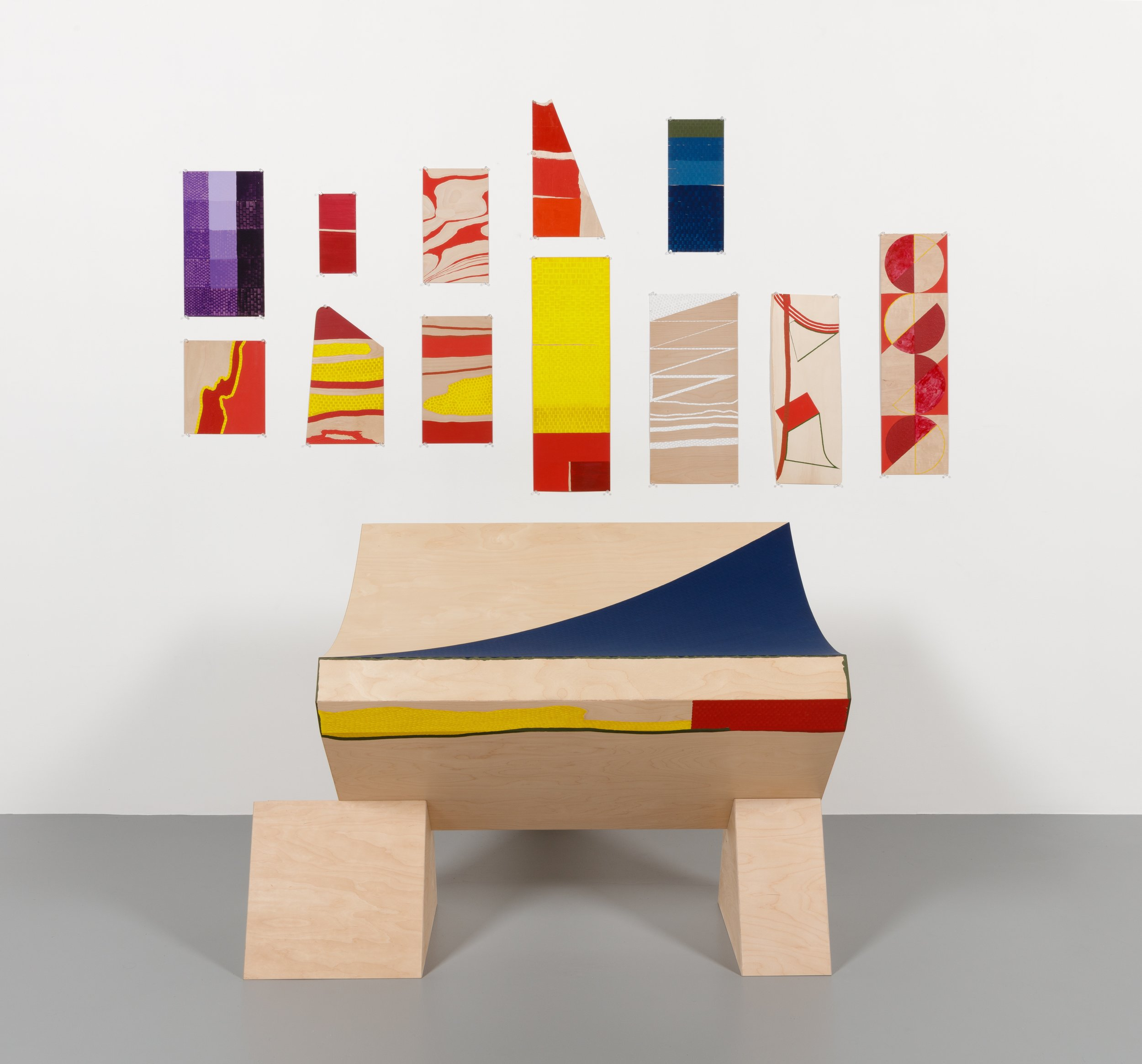 """1.  Second Shape IV with Color Variations, 2018 Plywood, Flashe, Acrylic, Gouache and Graphite 87"""" x 96"""" x 70"""".jpg"""