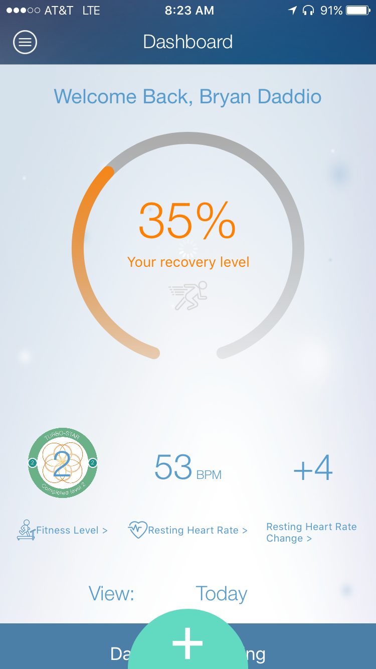 Dashboard - Users will be able to track Recovery, Resting Heart Rate, Steps, and of course, their workout. (See below)