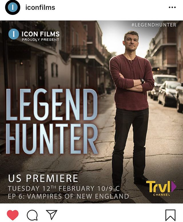 REGRAM: @iconfilms  I can't believe it's the season finale of my show Legend Hunter tonight!  I had such a blast filming this series. Big thanks to the team at Icon Films and Travel Channel for making this happen.  Don't forget to tune into the final episode on the legend of the New England Vampires tonight at 10PM EST on @travelchannel  #LegendHunter #NewEngland #Vampires #seasonfinale #finale #travel #science #mystery