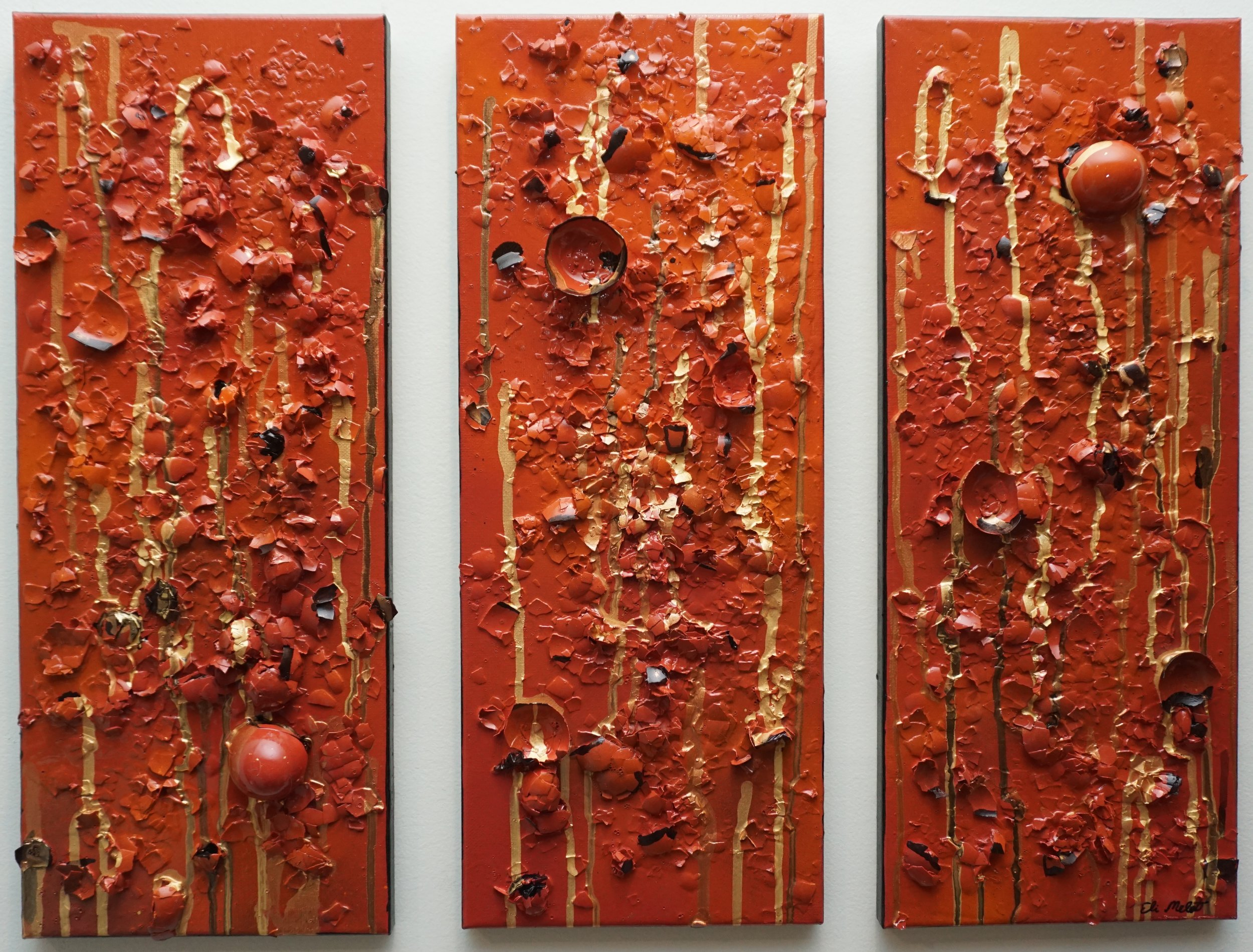 Mixed media (eggshells) on panel: 20x8 x3 $335
