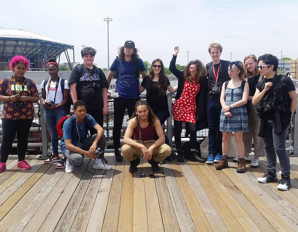 Instructors John Sanderson and Janina McCormack with Art on the Tracks students in the field