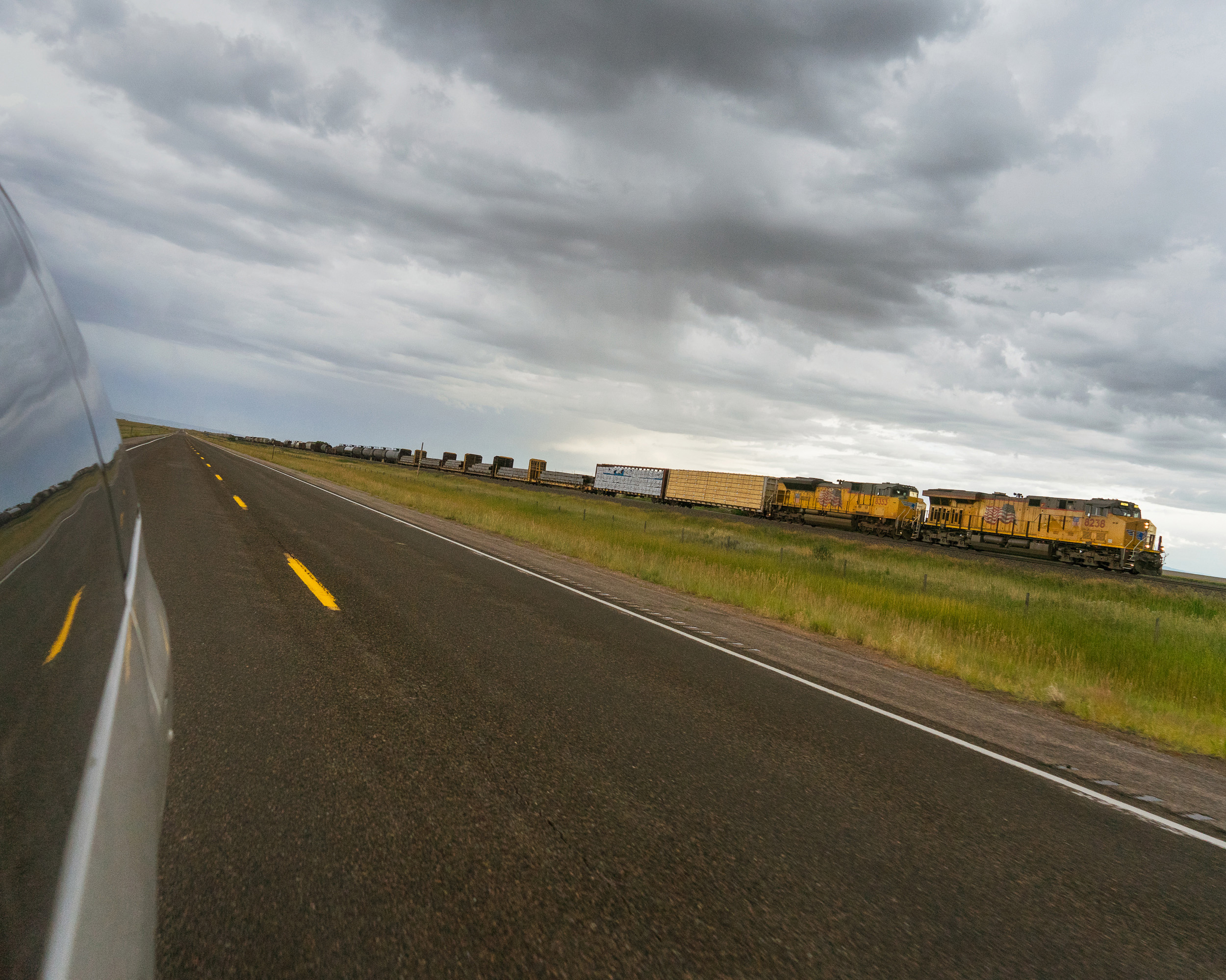 Chasing the Union Pacific Along US 30, Wyoming