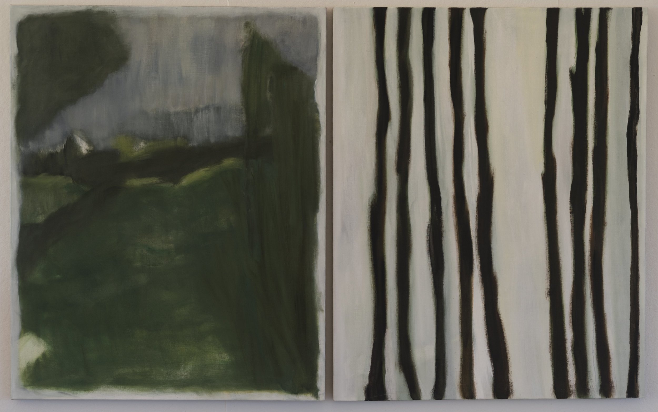 Vertical Green  2015  diptych  50 x 80in  oil on linen  photo: Sasha Schell