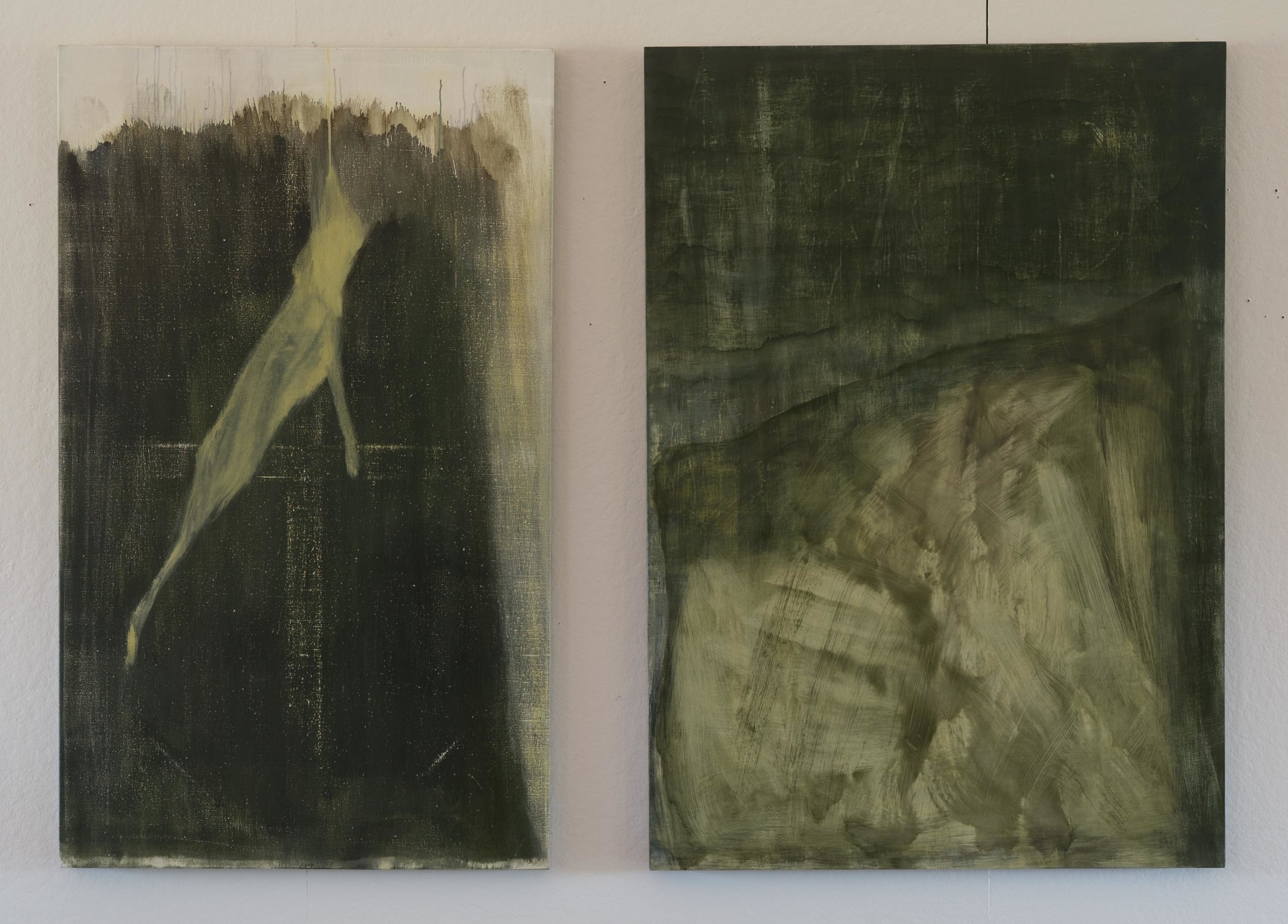 Vertical Green  2015  diptych  50 x 65in  oil on linen + oil on wood panel  photo: Sasha Schell