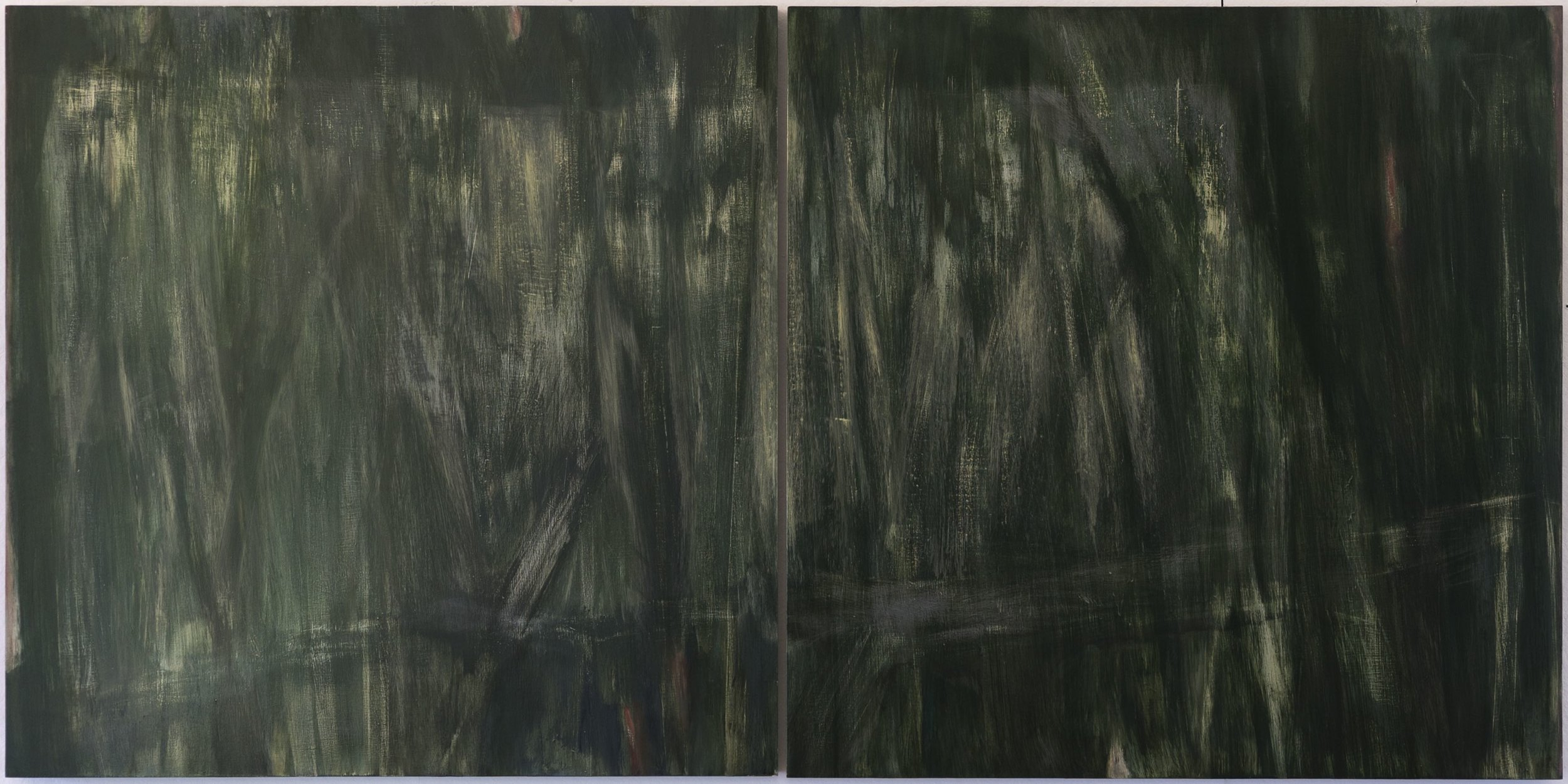 Vertical Green  2016  triptych  40 x 80in  oil on wood panel  photo: Sasha Schell