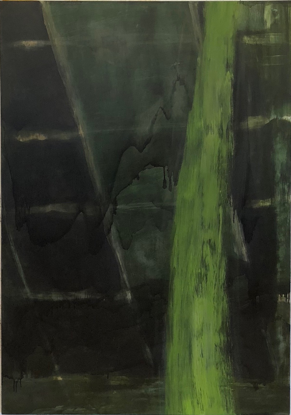 Vertical Green 2017-18 50 x 35in oil on wood