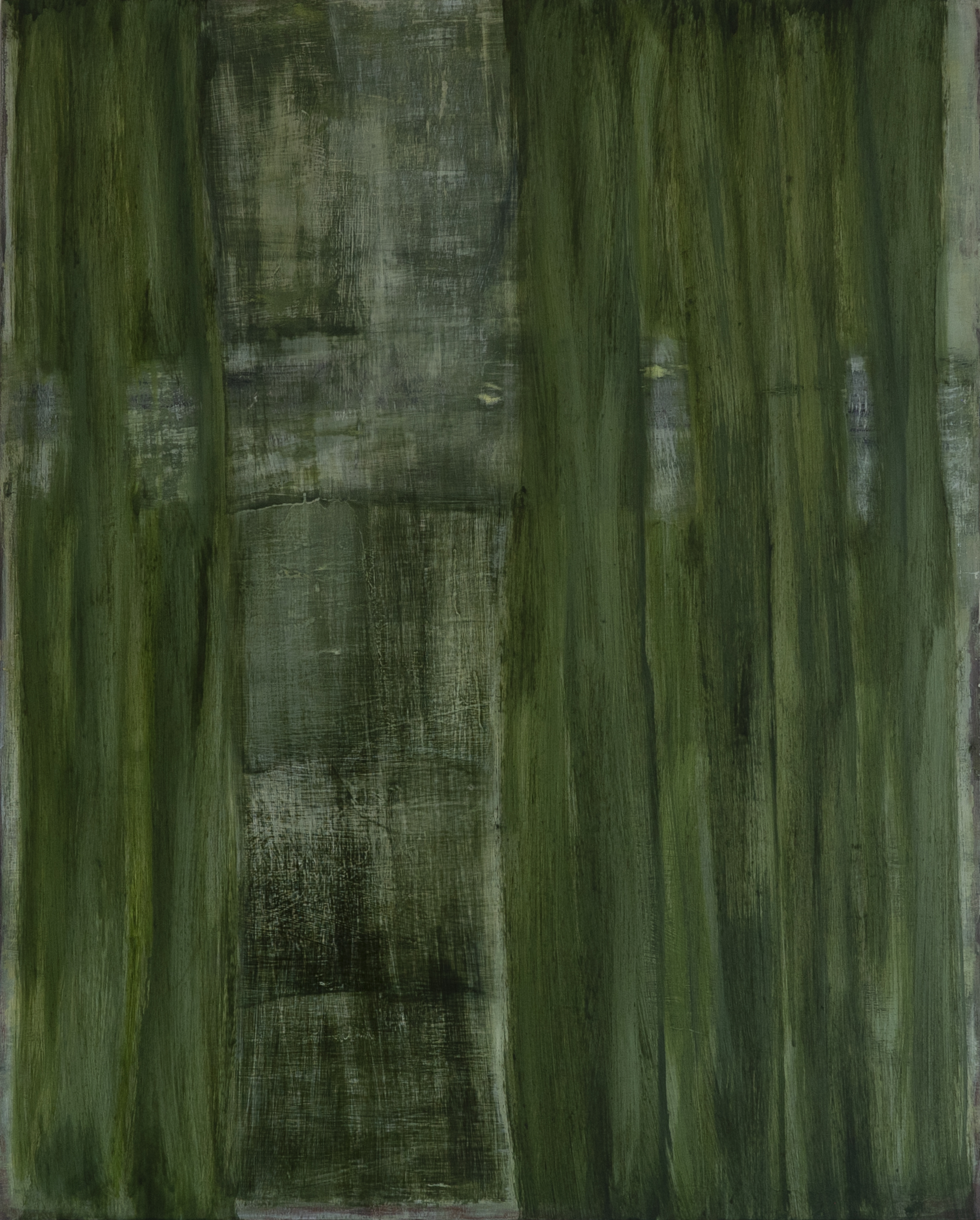 Vertical Green 2018 50 x 40 x 1.5in oil on wood photo: Sasha Schell