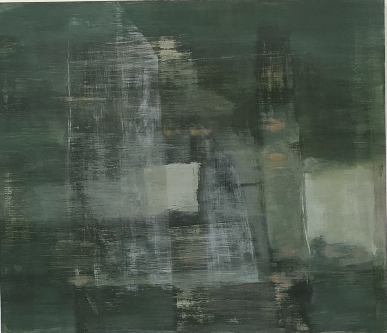 Vertical Green 2019 30 x 26 x 2.5in oil on wood photo: Sasha Schell