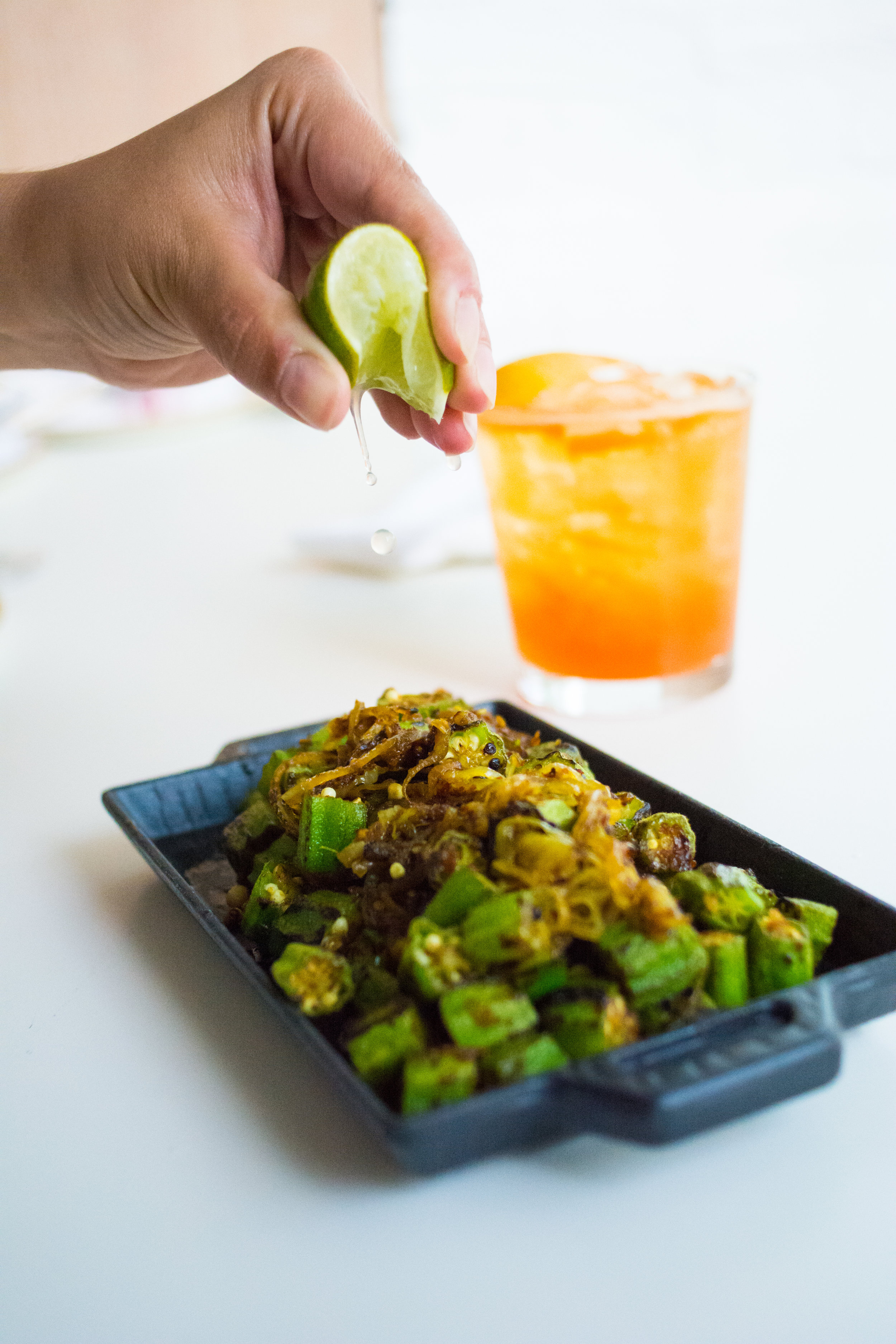 Okra with Green Chilies and Shallots