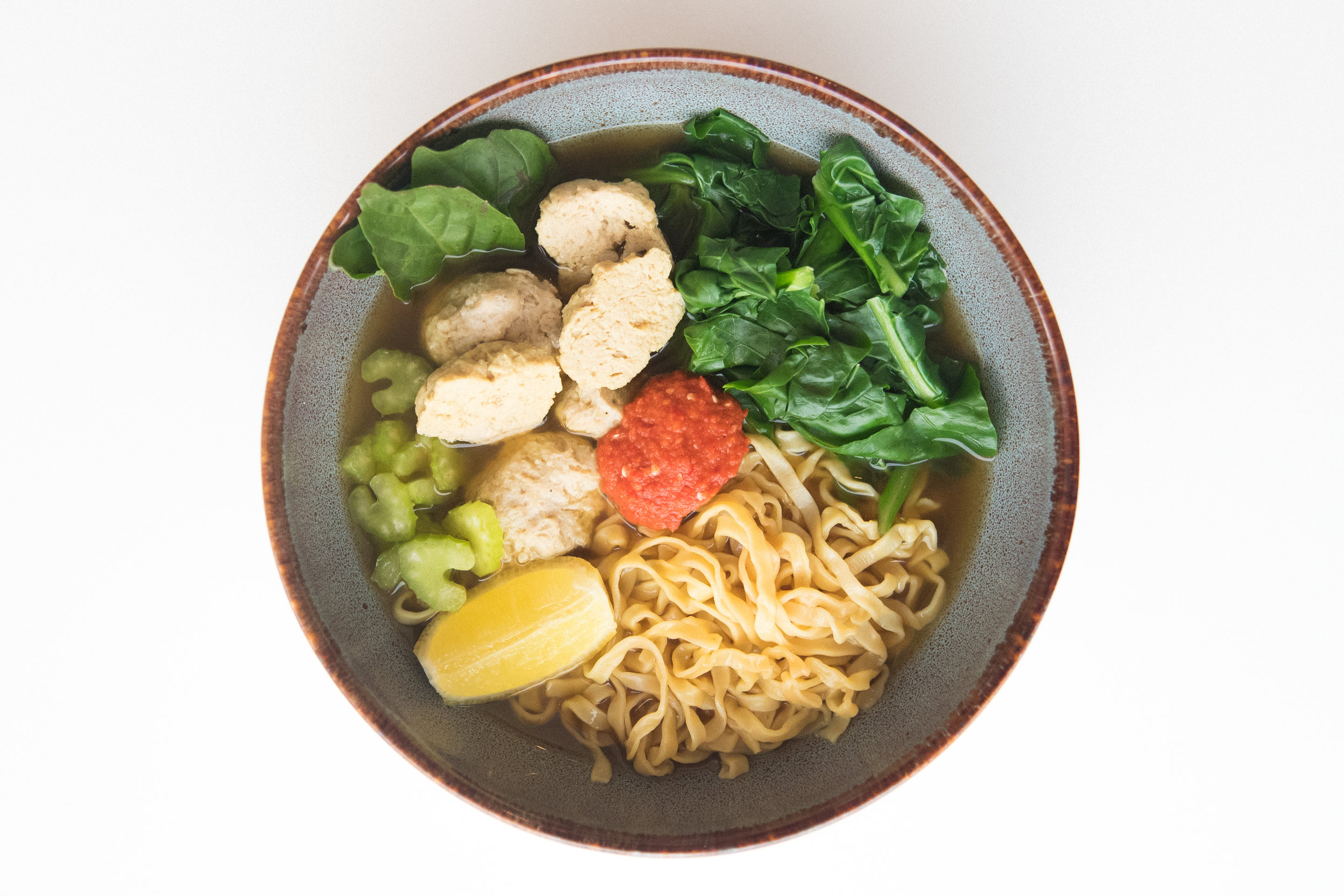 Chicken Bakso Soup with fresh egg noodles