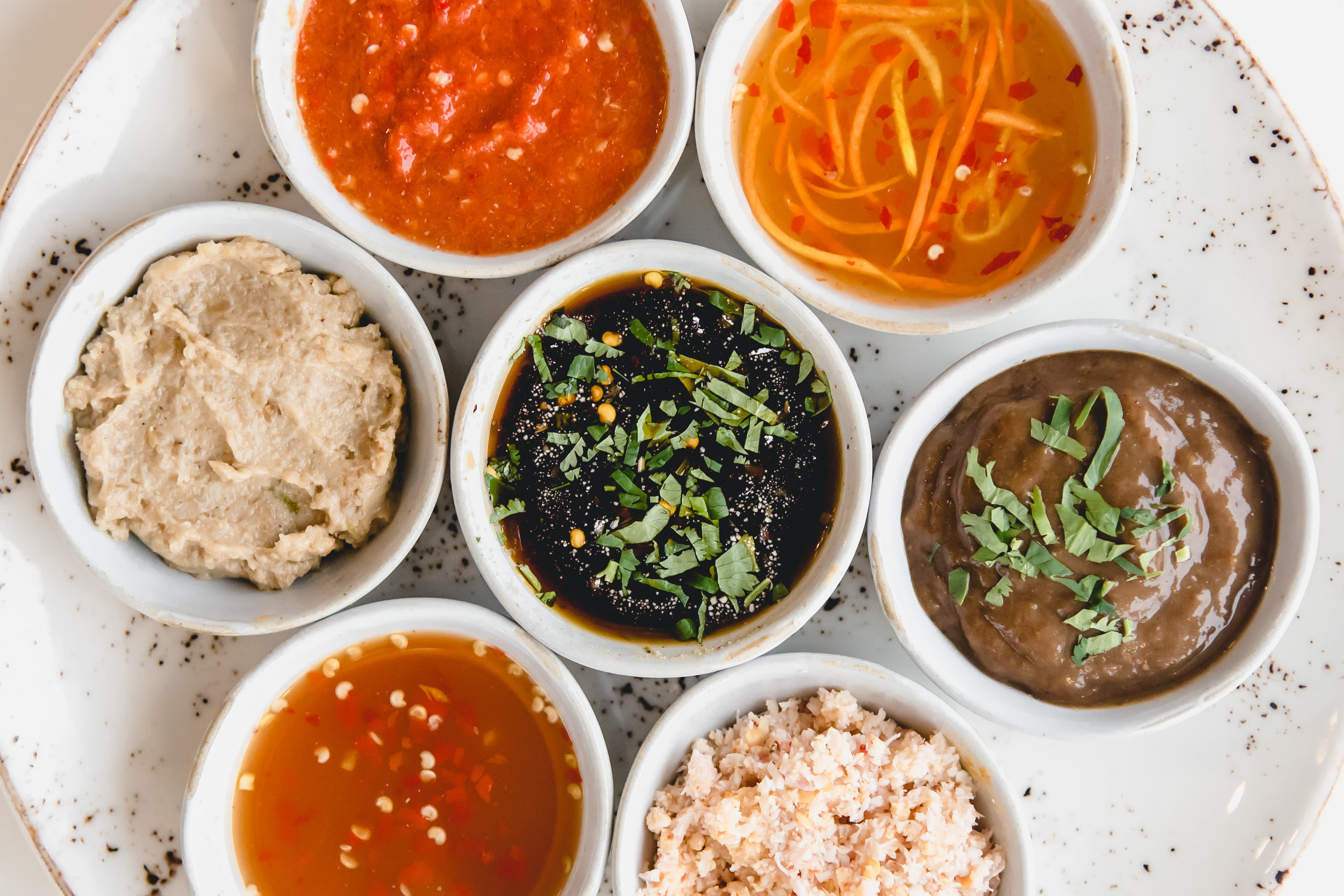 A selection of our sauces and dips for the table
