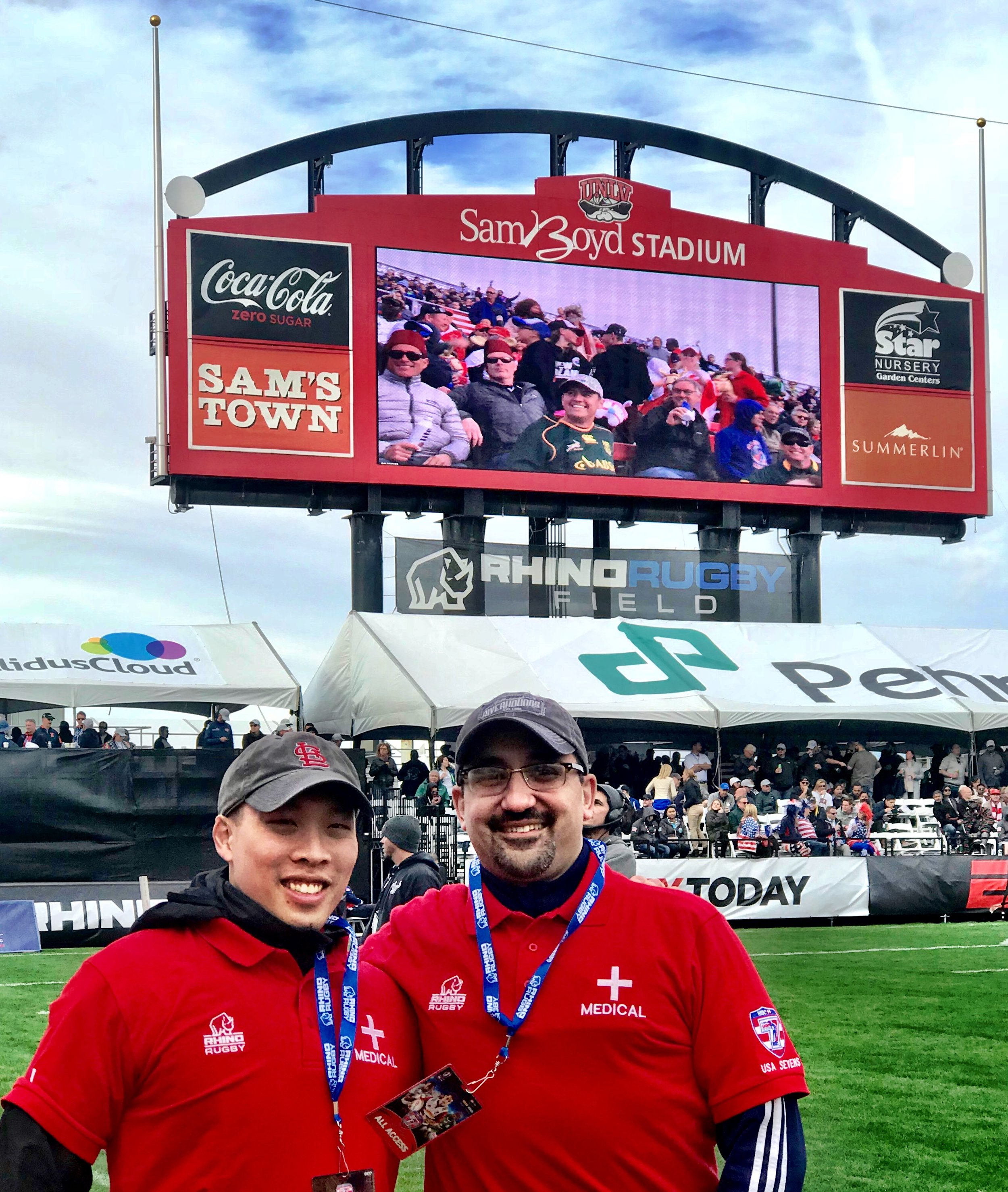 Dr. Lai and Dr. Akhavan in Las Vegas providing medical coverage to USA Rugby in 2018.